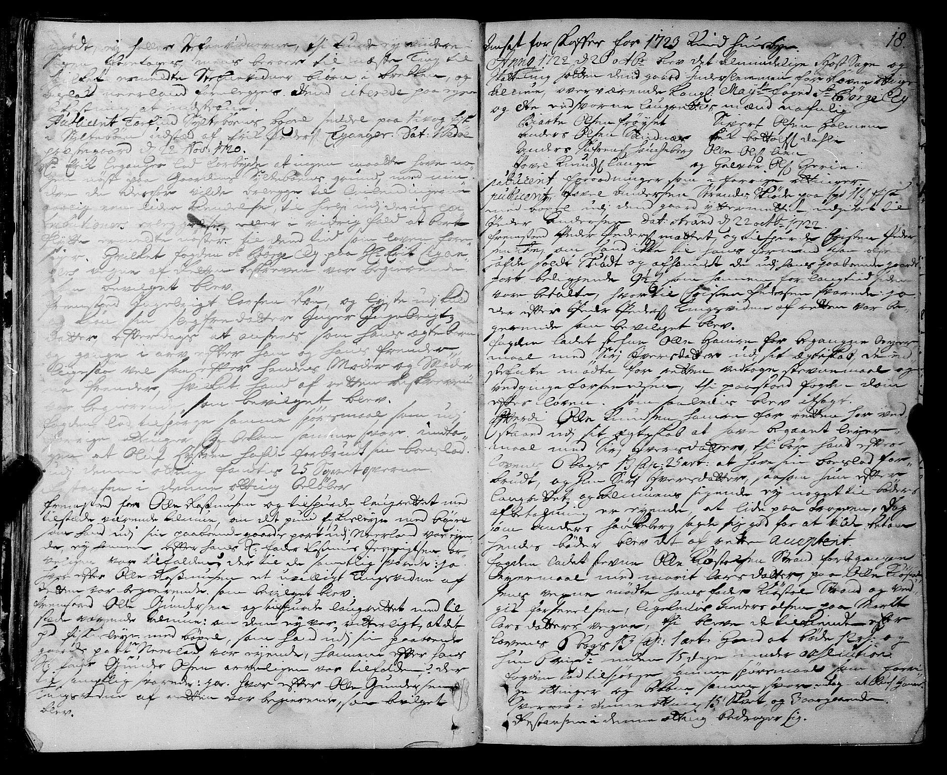 SAT, Romsdal sorenskriveri, 1/1A/L0009: Tingbok, 1722-1728, s. 17b-18a