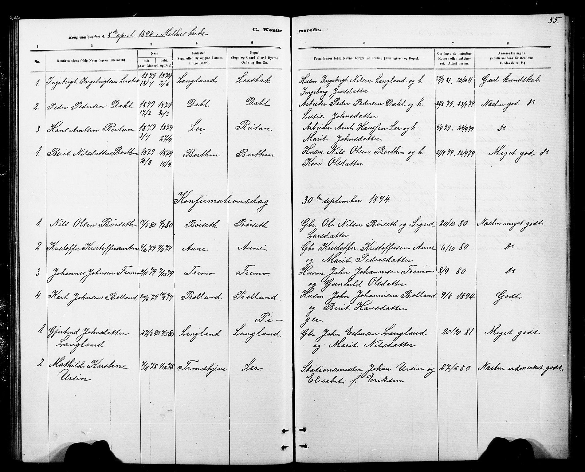 SAT, Ministerialprotokoller, klokkerbøker og fødselsregistre - Sør-Trøndelag, 693/L1123: Klokkerbok nr. 693C04, 1887-1910, s. 55