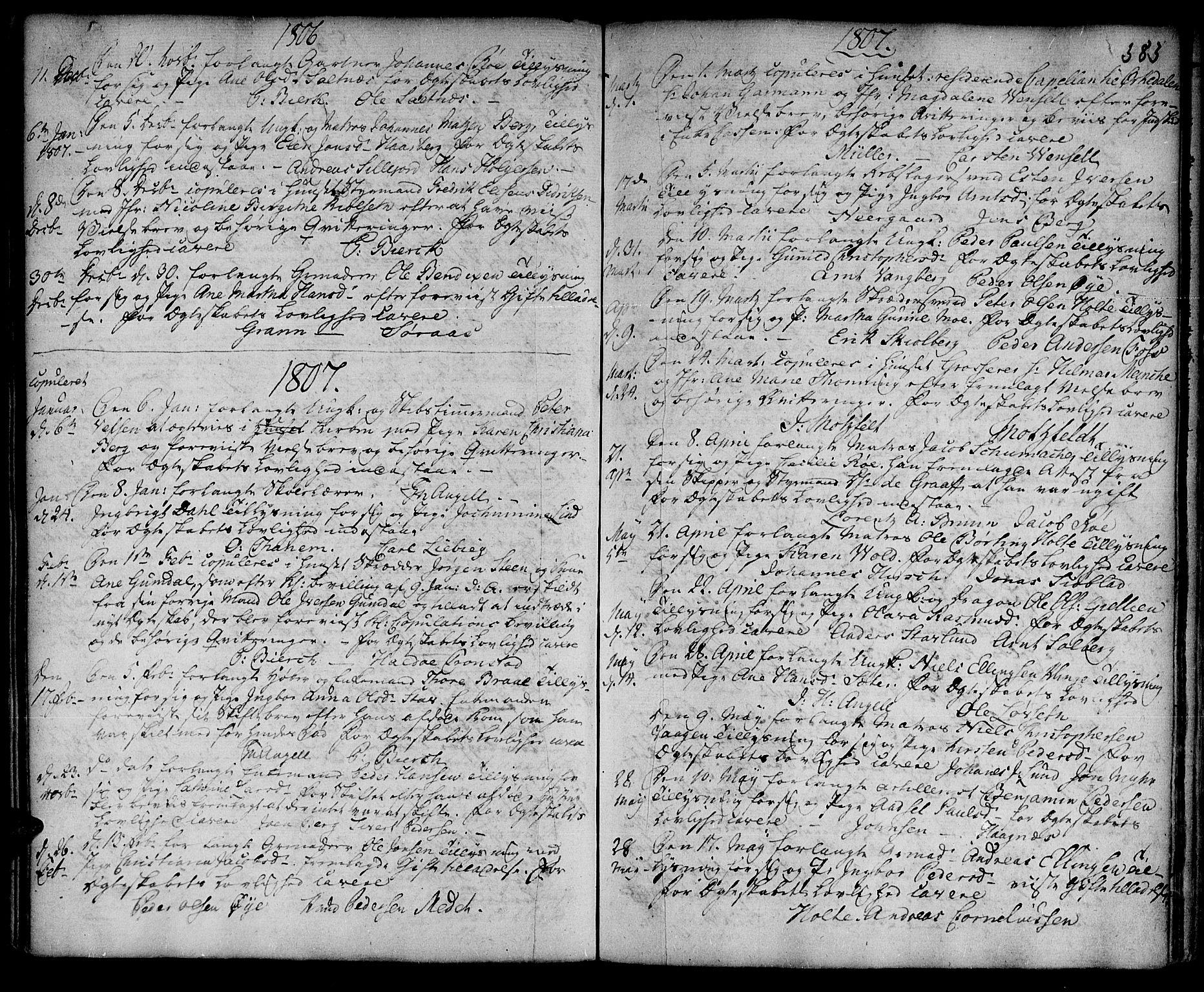 SAT, Ministerialprotokoller, klokkerbøker og fødselsregistre - Sør-Trøndelag, 601/L0038: Ministerialbok nr. 601A06, 1766-1877, s. 383