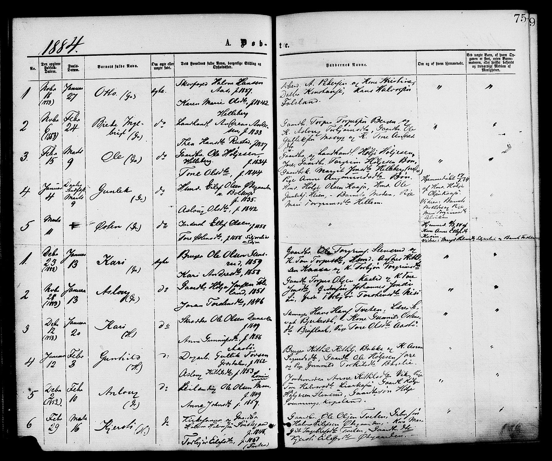 SAKO, Gransherad kirkebøker, F/Fa/L0004: Ministerialbok nr. I 4, 1871-1886, s. 75