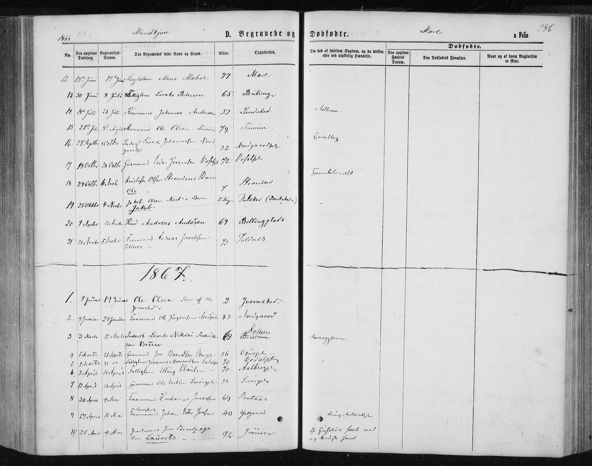SAT, Ministerialprotokoller, klokkerbøker og fødselsregistre - Nord-Trøndelag, 735/L0345: Ministerialbok nr. 735A08 /1, 1863-1872, s. 286