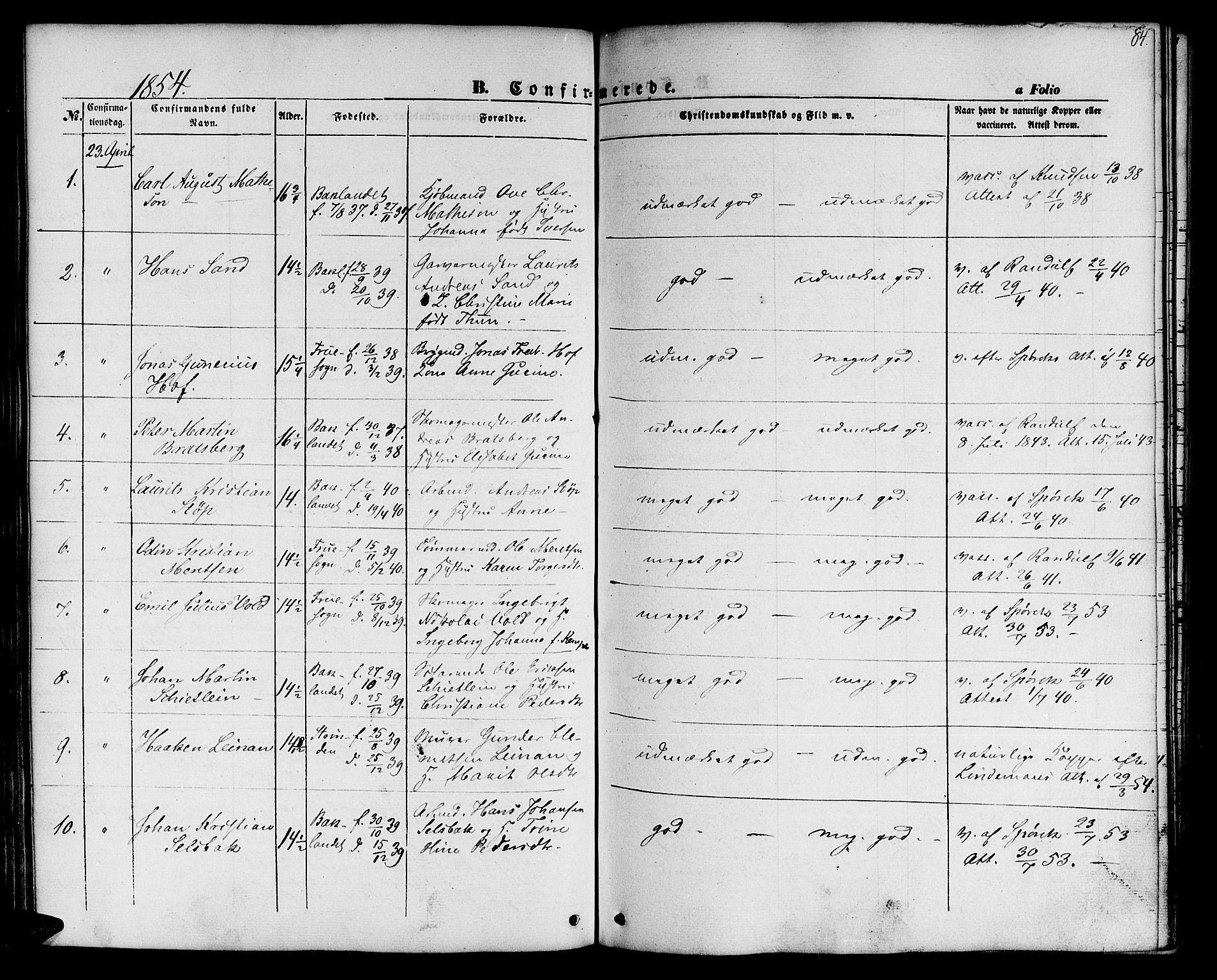SAT, Ministerialprotokoller, klokkerbøker og fødselsregistre - Sør-Trøndelag, 604/L0184: Ministerialbok nr. 604A05, 1851-1860, s. 84