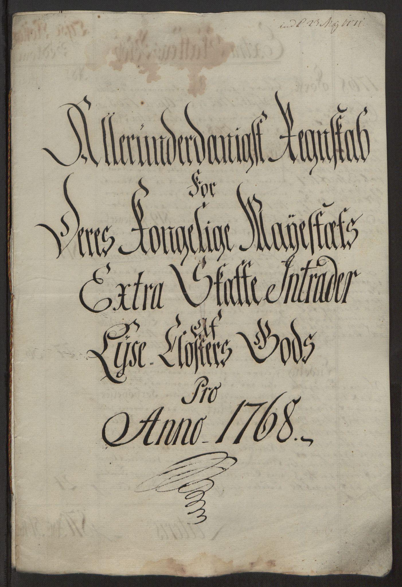RA, Rentekammeret inntil 1814, Reviderte regnskaper, Fogderegnskap, R50/L3180: Ekstraskatten Lyse kloster, 1762-1783, s. 186