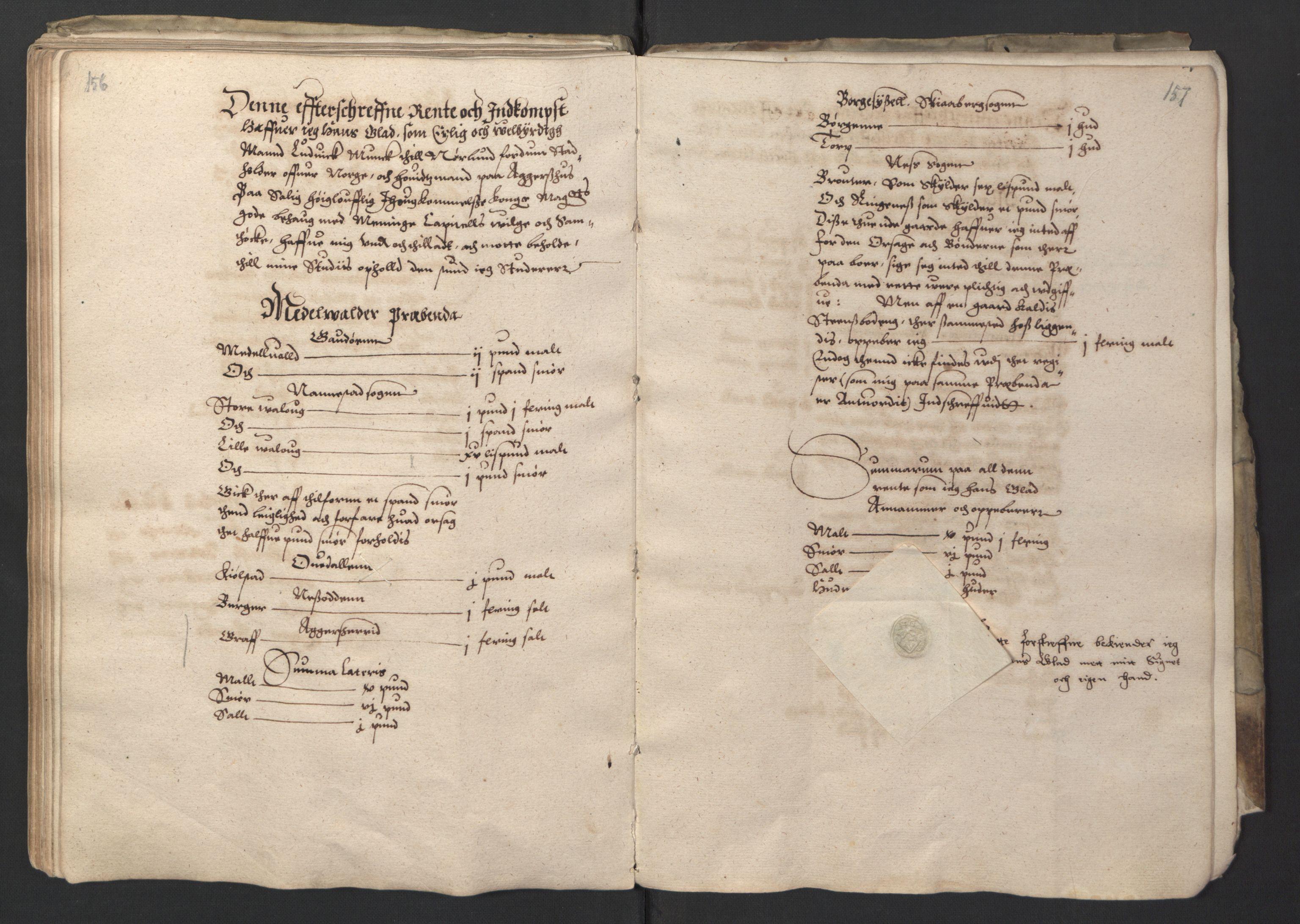RA, Stattholderembetet 1572-1771, Ek/L0001: Jordebøker før 1624 og til utligning av garnisonsskatt 1624-1626:, 1595, s. 156-157