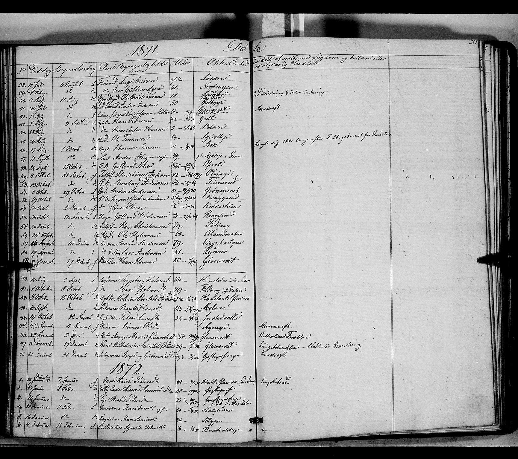 SAH, Jevnaker prestekontor, Ministerialbok nr. 7, 1858-1876, s. 257