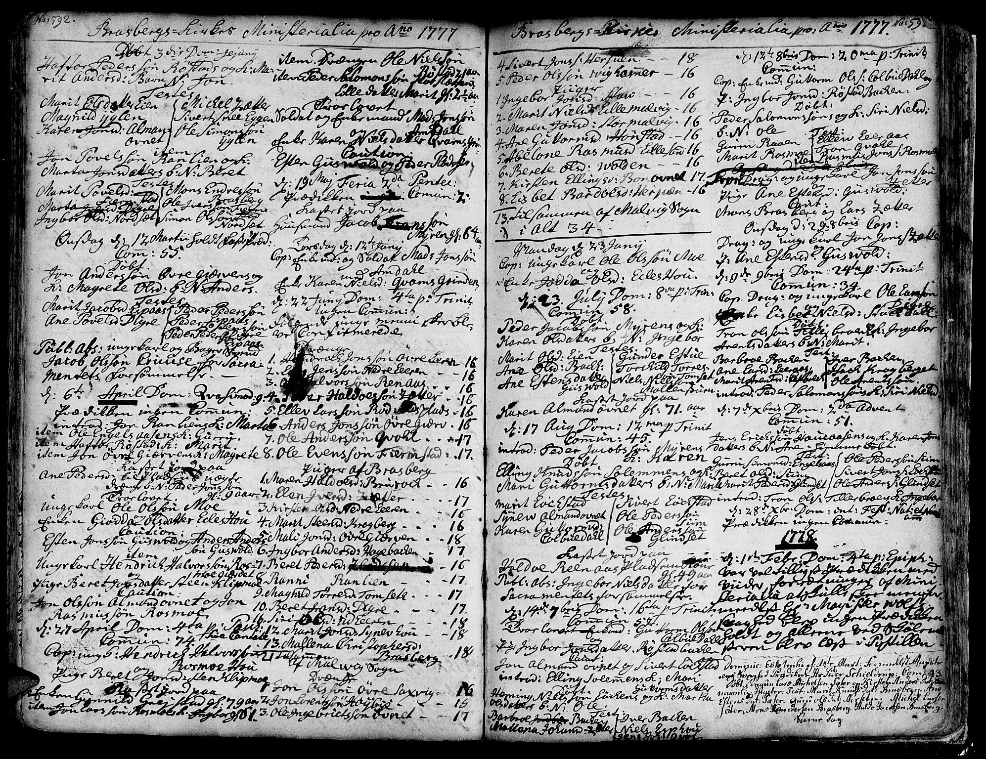 SAT, Ministerialprotokoller, klokkerbøker og fødselsregistre - Sør-Trøndelag, 606/L0278: Ministerialbok nr. 606A01 /4, 1727-1780, s. 592-593