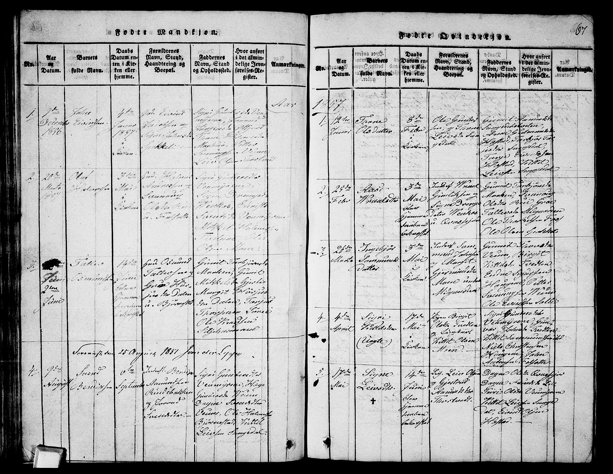 SAKO, Fyresdal kirkebøker, G/Ga/L0003: Klokkerbok nr. I 3, 1815-1863, s. 67