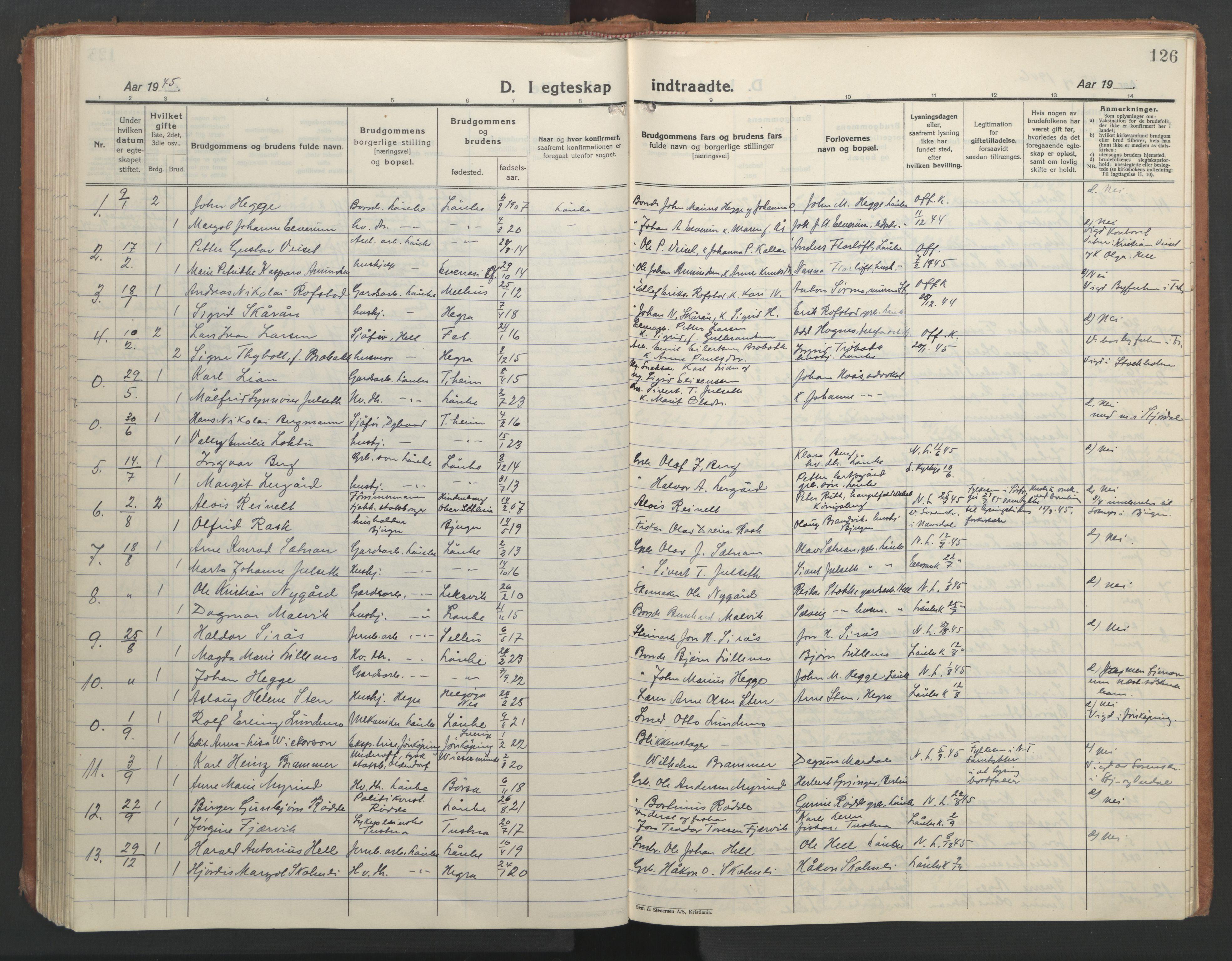 SAT, Ministerialprotokoller, klokkerbøker og fødselsregistre - Nord-Trøndelag, 710/L0097: Klokkerbok nr. 710C02, 1925-1955, s. 126