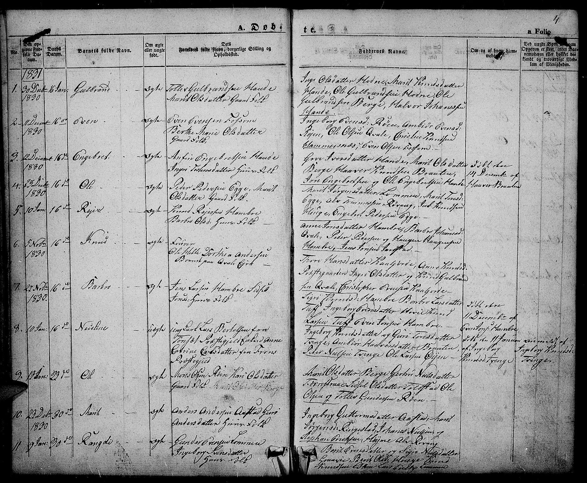 SAH, Slidre prestekontor, Ministerialbok nr. 3, 1831-1843, s. 4