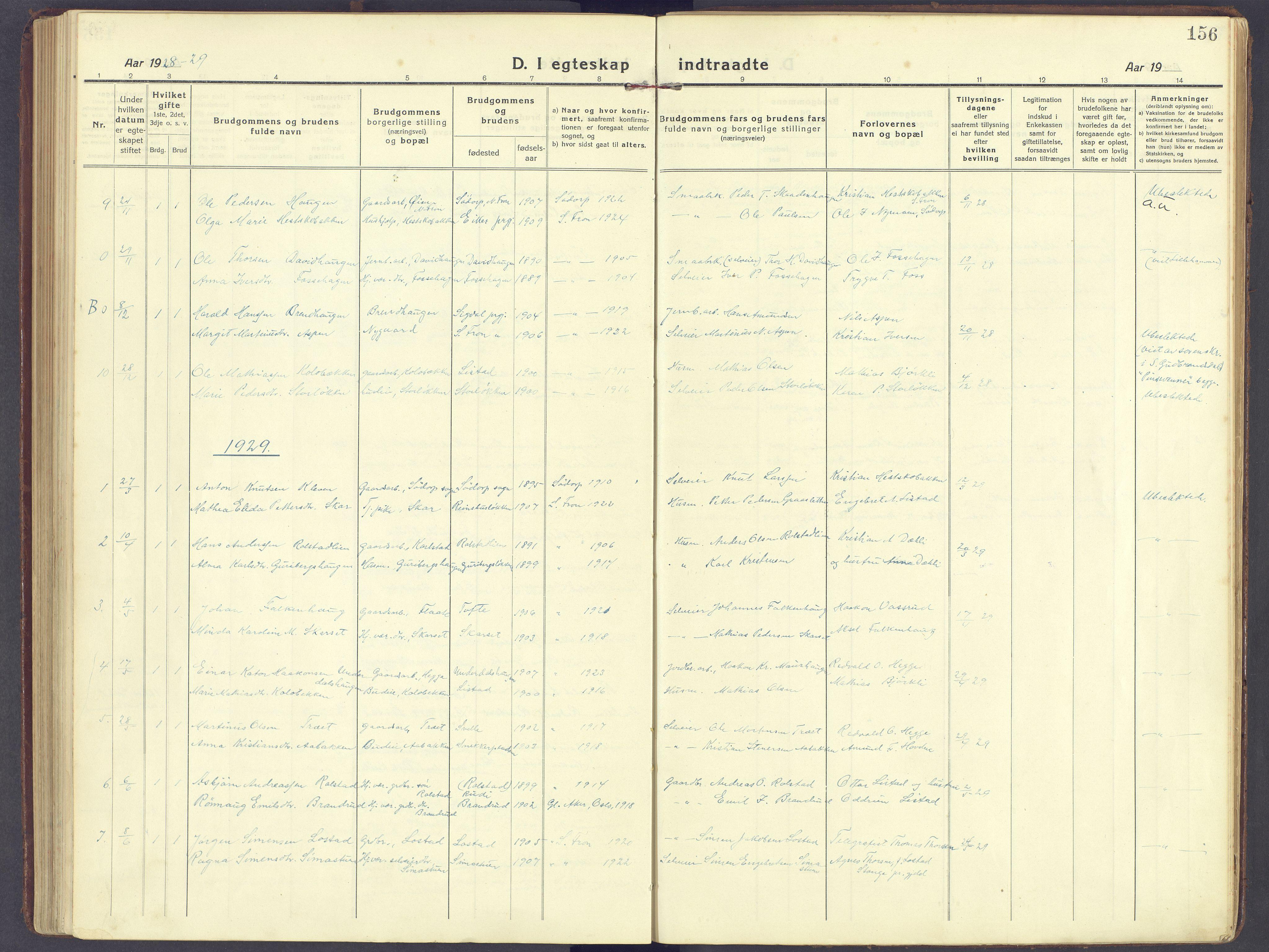 SAH, Sør-Fron prestekontor, H/Ha/Haa/L0005: Ministerialbok nr. 5, 1920-1933, s. 156