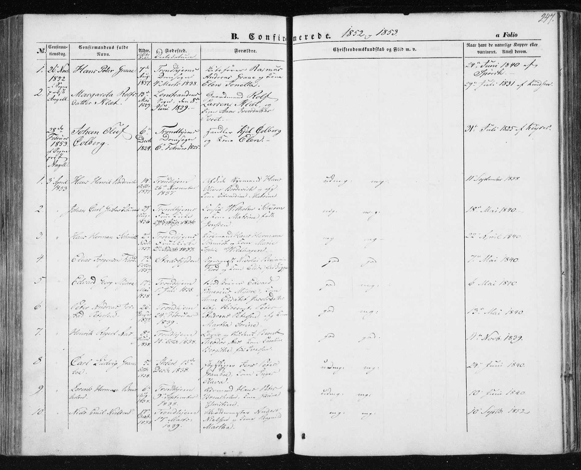 SAT, Ministerialprotokoller, klokkerbøker og fødselsregistre - Sør-Trøndelag, 602/L0112: Ministerialbok nr. 602A10, 1848-1859, s. 247