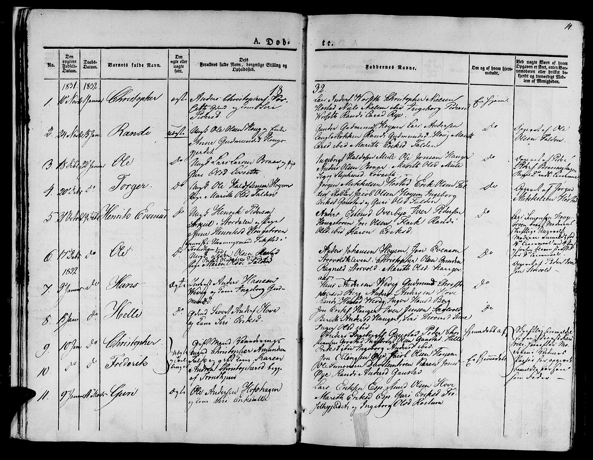 SAT, Ministerialprotokoller, klokkerbøker og fødselsregistre - Sør-Trøndelag, 612/L0374: Ministerialbok nr. 612A07 /1, 1829-1845, s. 14