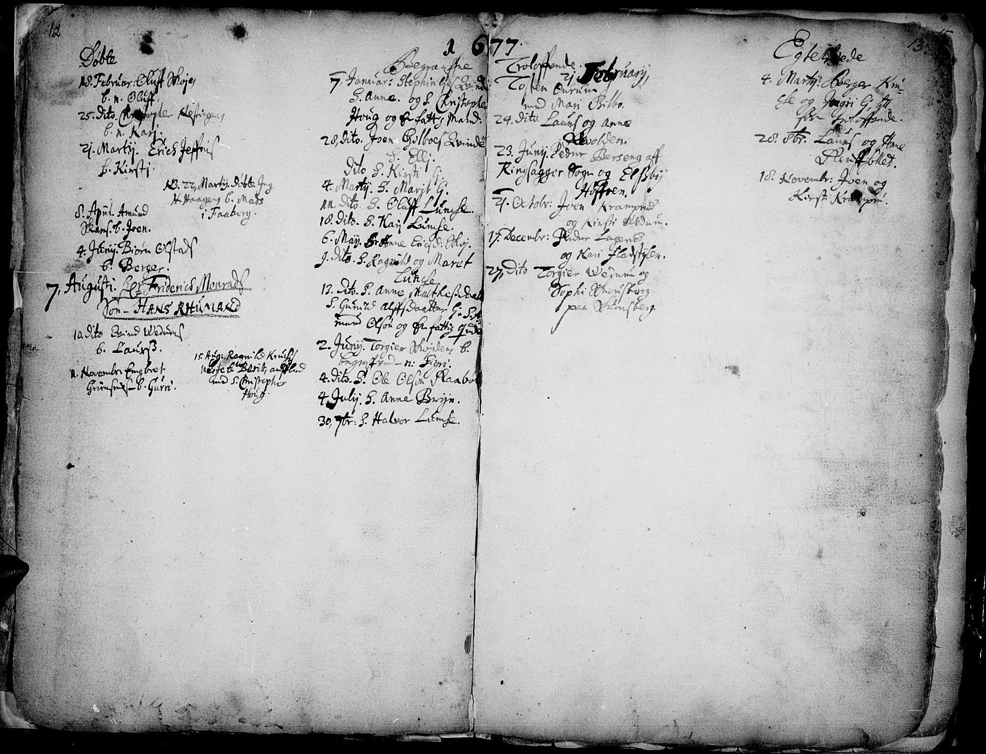 SAH, Øyer prestekontor, Ministerialbok nr. 1, 1671-1727, s. 12-13