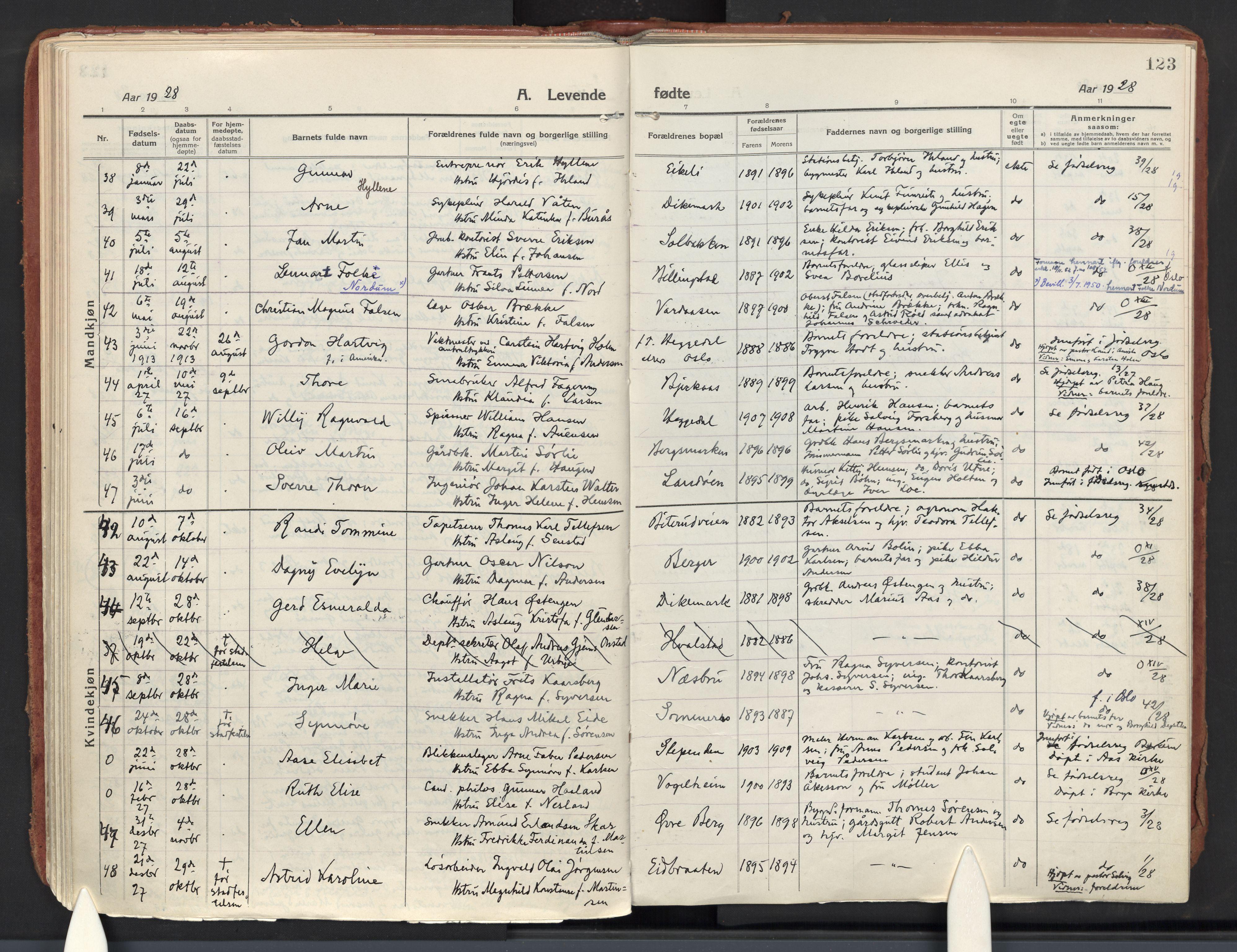 SAO, Asker prestekontor Kirkebøker, F/Fa/L0018: Ministerialbok nr. I 18, 1916-1936, s. 123