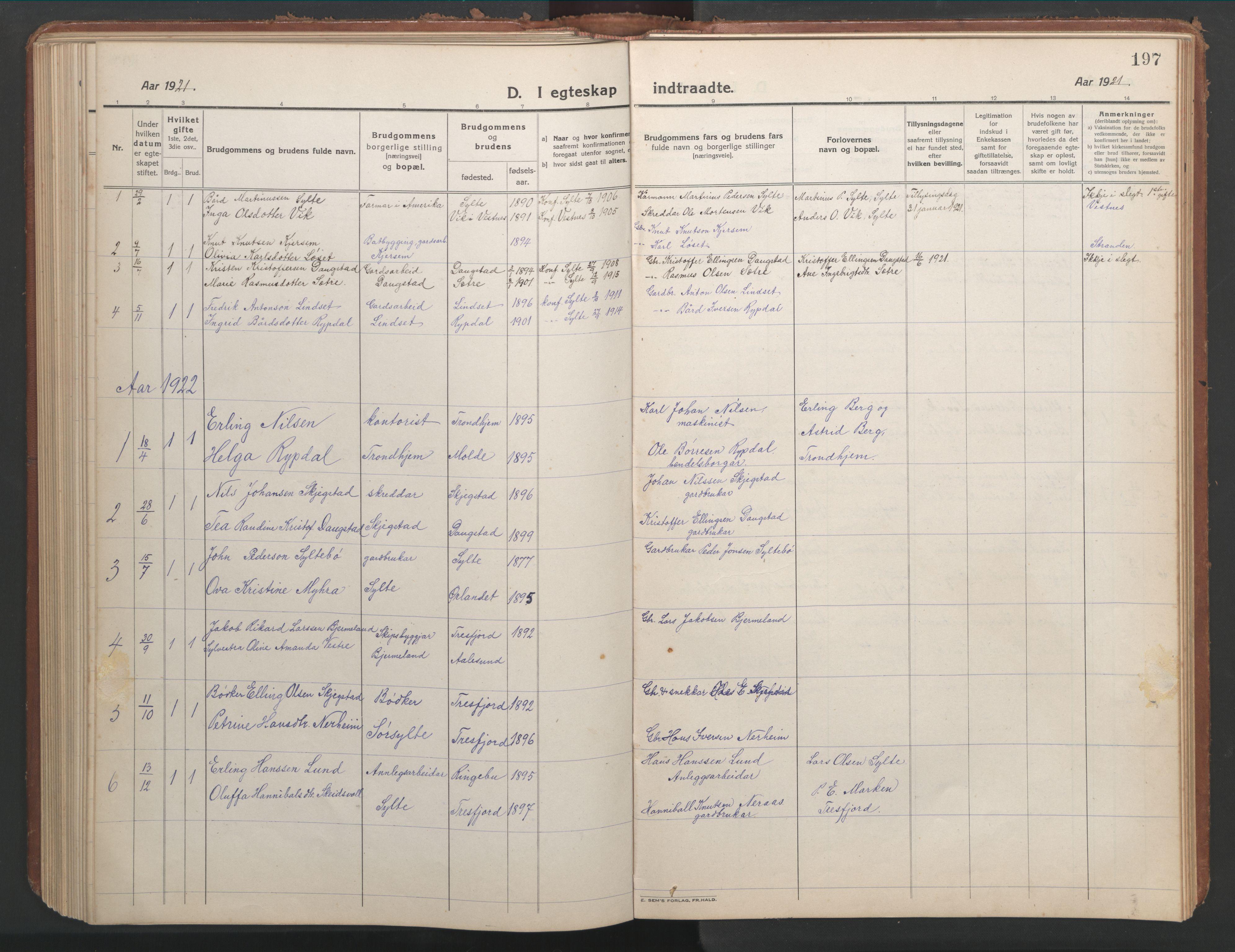 SAT, Ministerialprotokoller, klokkerbøker og fødselsregistre - Møre og Romsdal, 541/L0548: Klokkerbok nr. 541C03, 1921-1960, s. 197