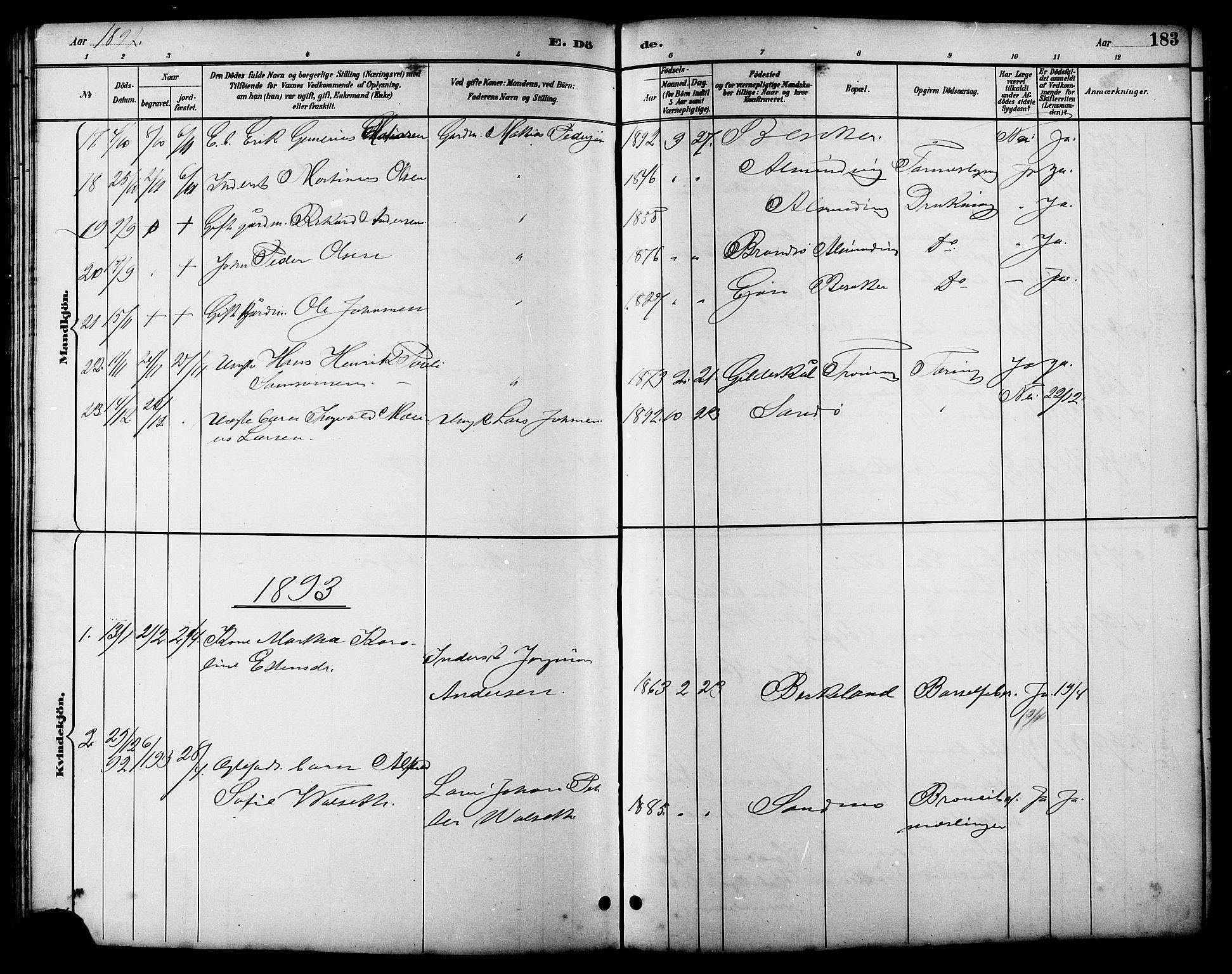 SAT, Ministerialprotokoller, klokkerbøker og fødselsregistre - Sør-Trøndelag, 657/L0716: Klokkerbok nr. 657C03, 1889-1904, s. 183