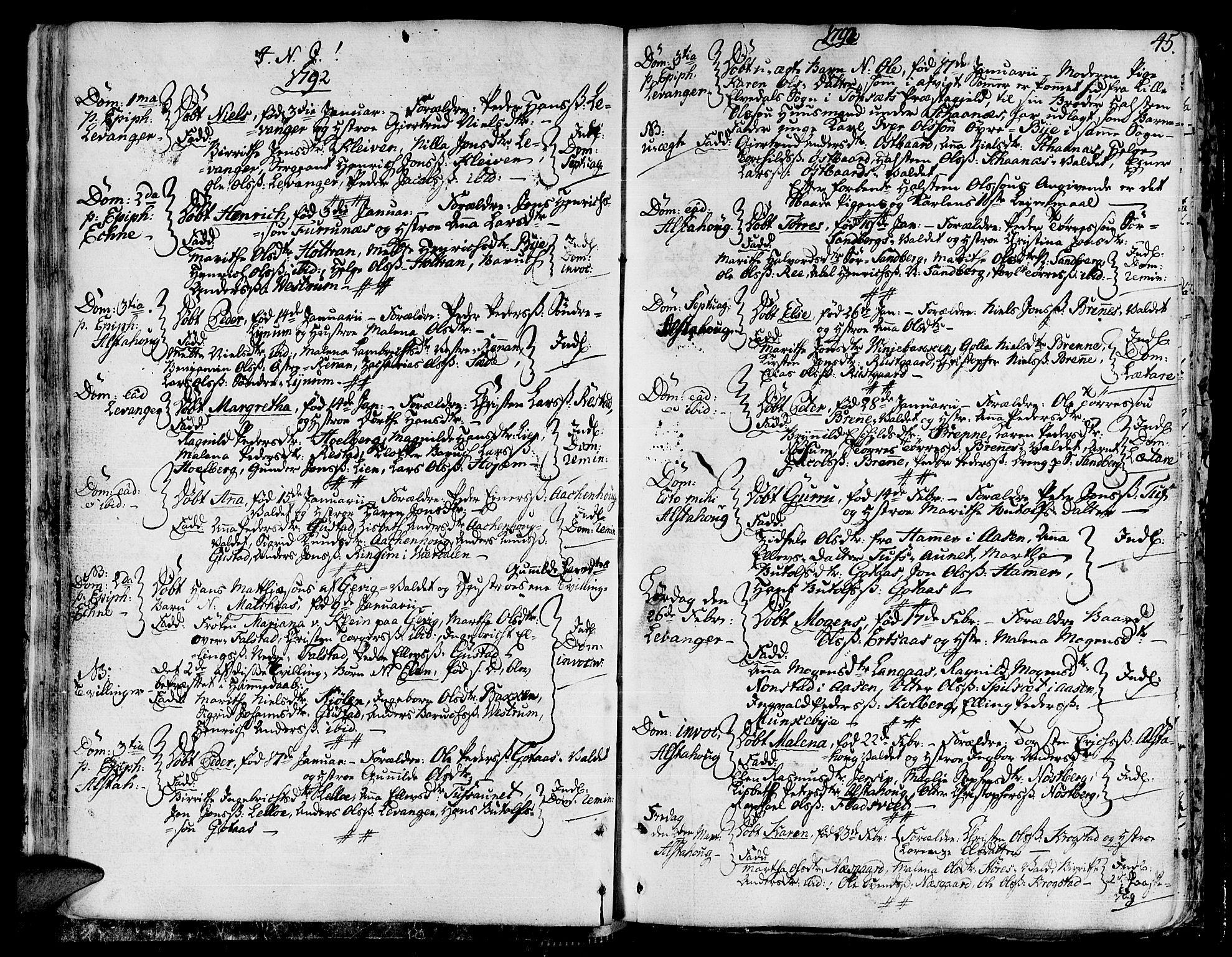 SAT, Ministerialprotokoller, klokkerbøker og fødselsregistre - Nord-Trøndelag, 717/L0142: Ministerialbok nr. 717A02 /1, 1783-1809, s. 45