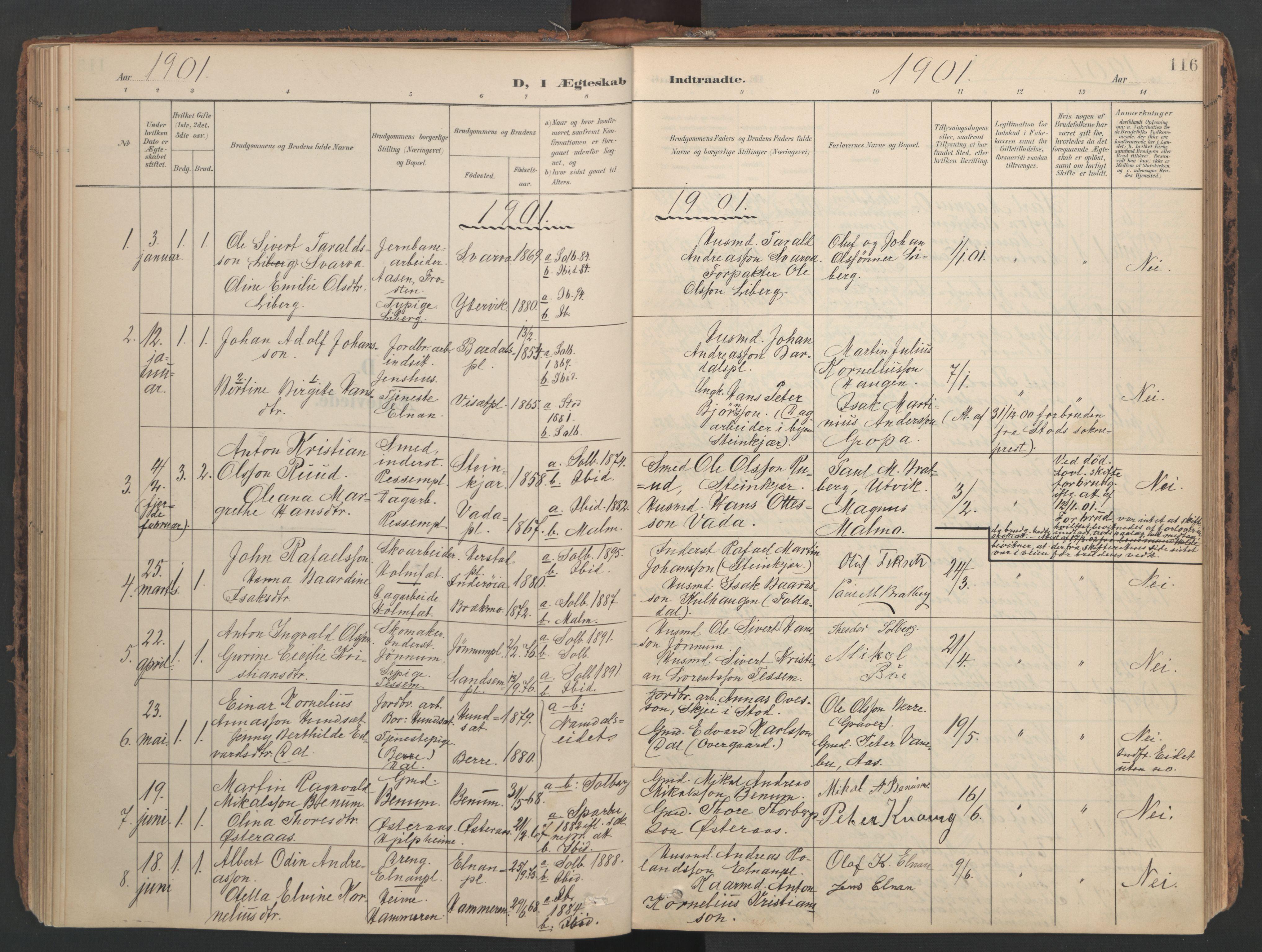 SAT, Ministerialprotokoller, klokkerbøker og fødselsregistre - Nord-Trøndelag, 741/L0397: Ministerialbok nr. 741A11, 1901-1911, s. 116