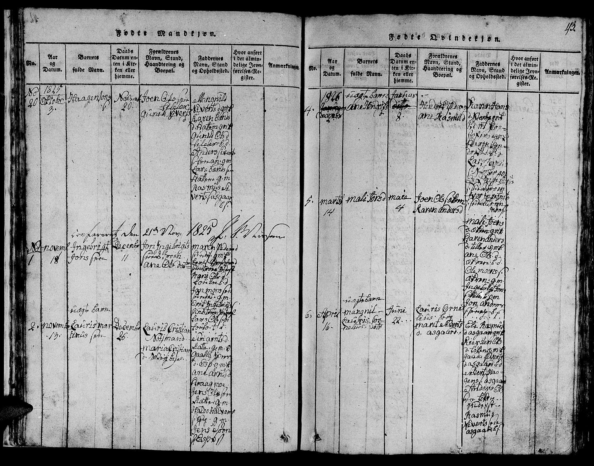 SAT, Ministerialprotokoller, klokkerbøker og fødselsregistre - Sør-Trøndelag, 613/L0393: Klokkerbok nr. 613C01, 1816-1886, s. 43