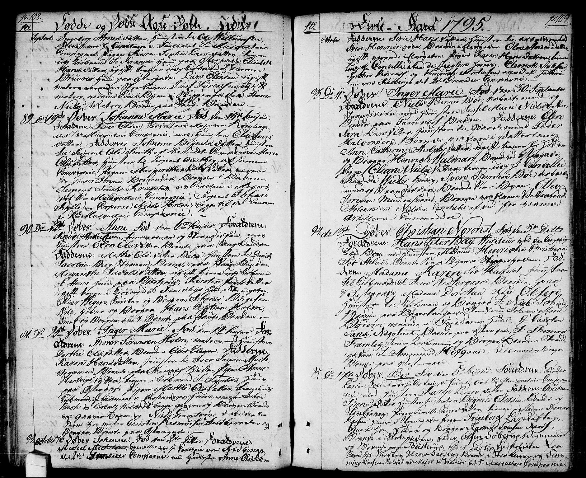 SAO, Halden prestekontor Kirkebøker, F/Fa/L0002: Ministerialbok nr. I 2, 1792-1812, s. 108-109