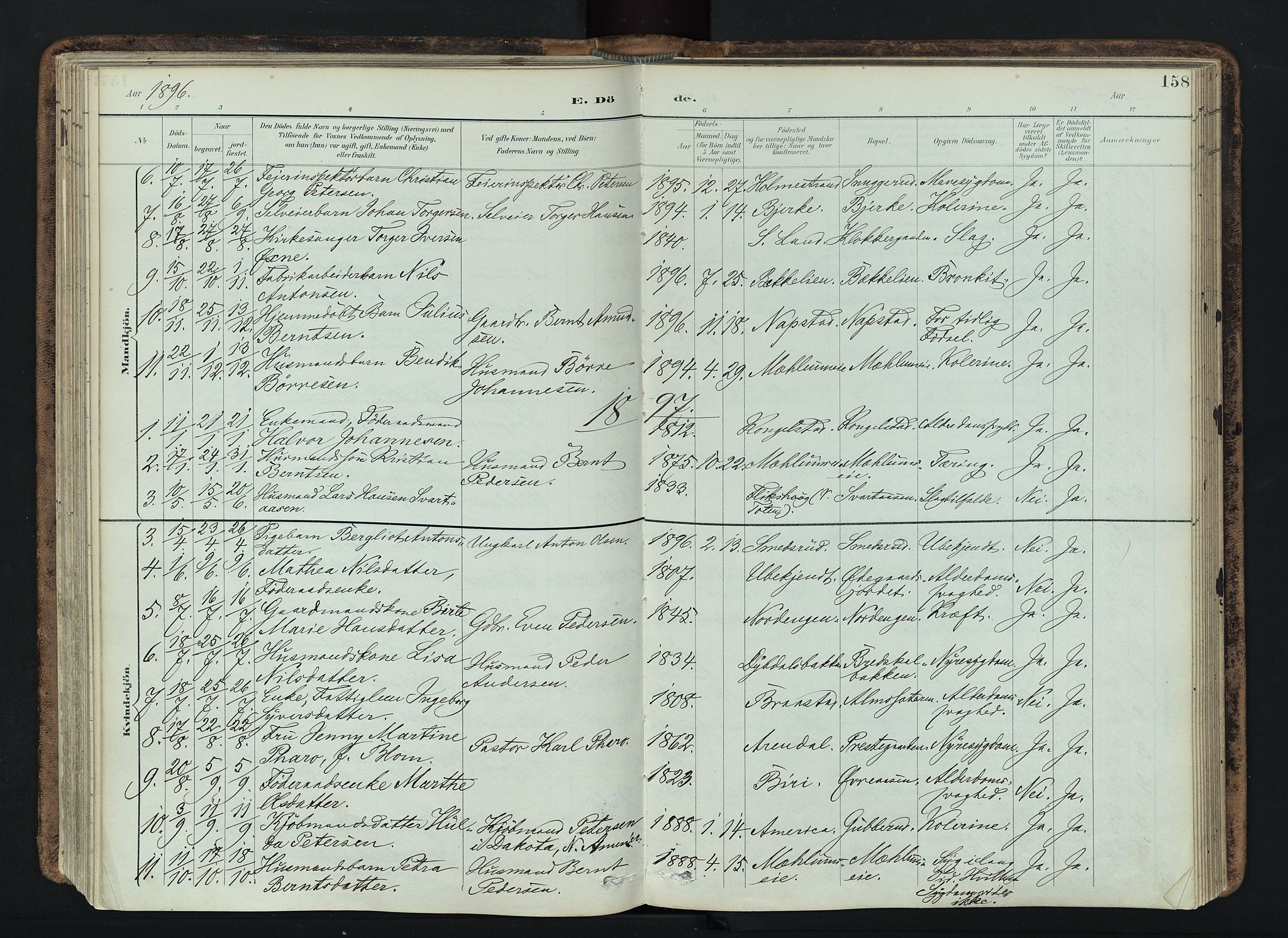 SAH, Vardal prestekontor, H/Ha/Haa/L0019: Ministerialbok nr. 19, 1893-1907, s. 158
