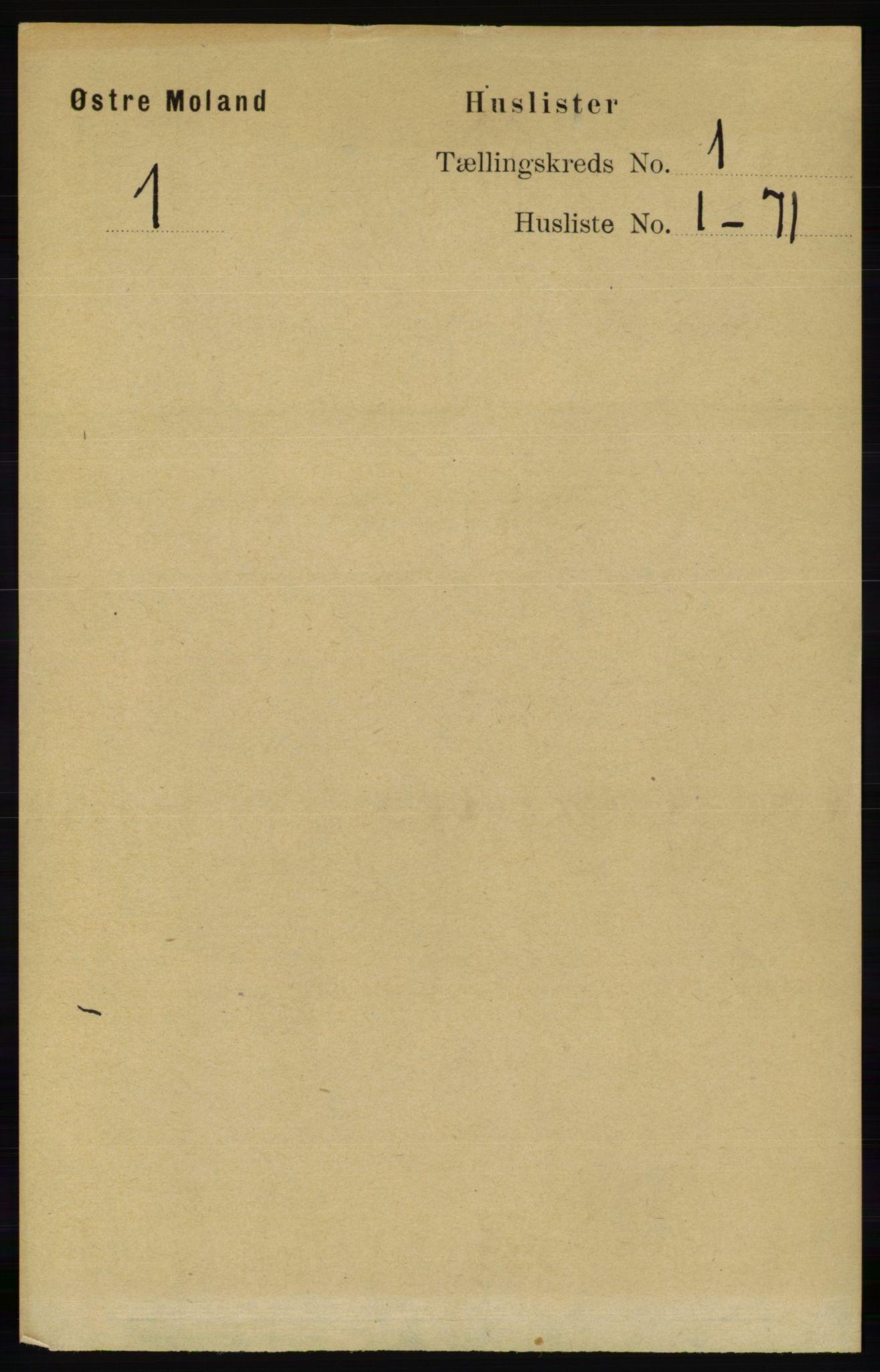 RA, Folketelling 1891 for 0918 Austre Moland herred, 1891, s. 19