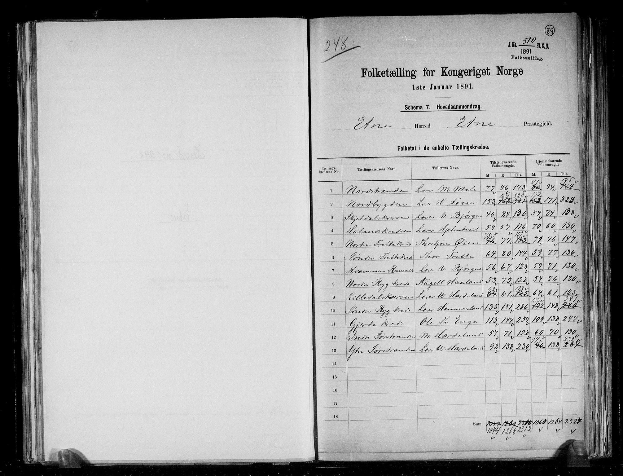RA, Folketelling 1891 for 1211 Etne herred, 1891, s. 2