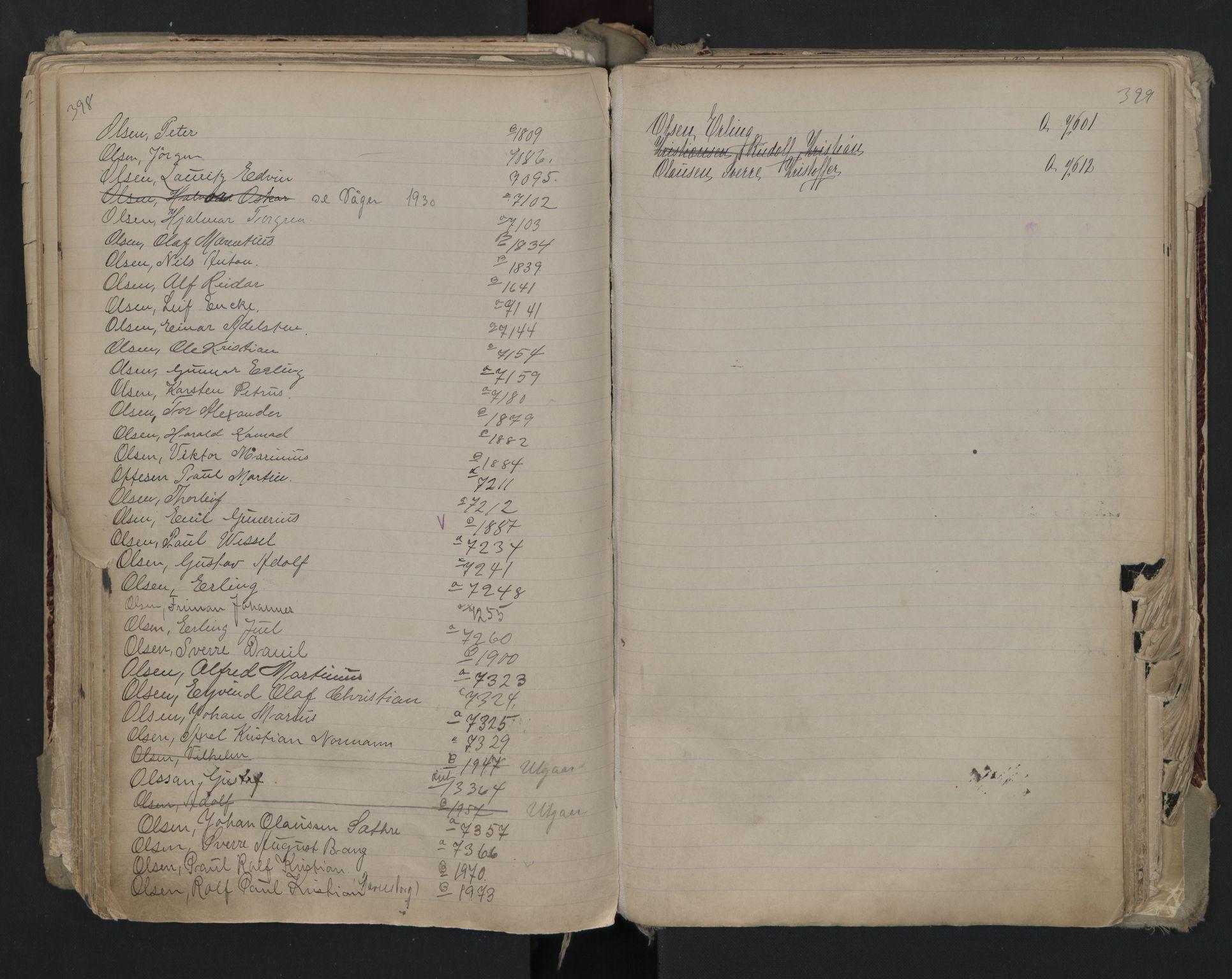 SAO, Oslo sjømannskontor, F/Fa/L0002: Register for Kristiania krets, 1866-1930, s. 398-399