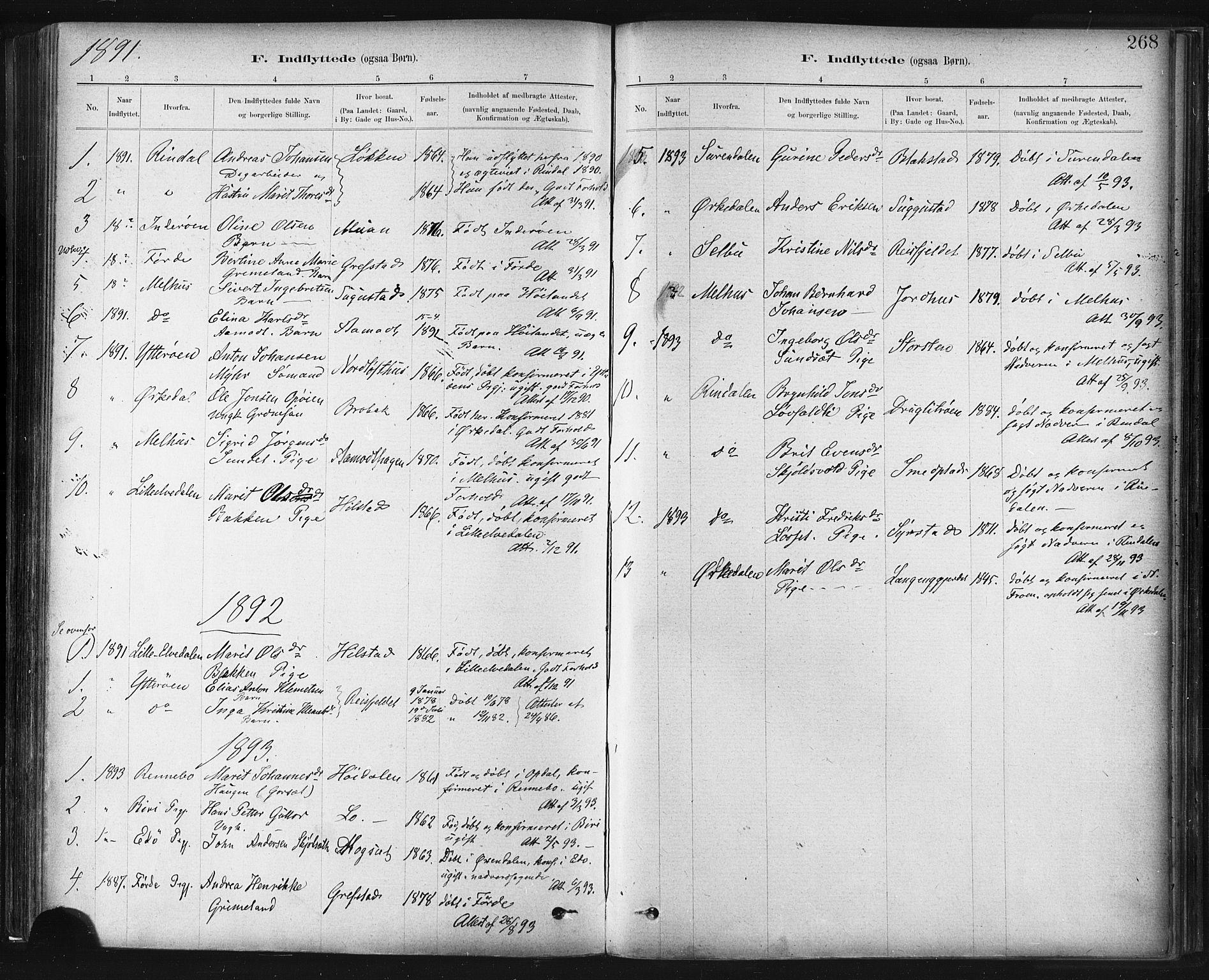 SAT, Ministerialprotokoller, klokkerbøker og fødselsregistre - Sør-Trøndelag, 672/L0857: Ministerialbok nr. 672A09, 1882-1893, s. 268