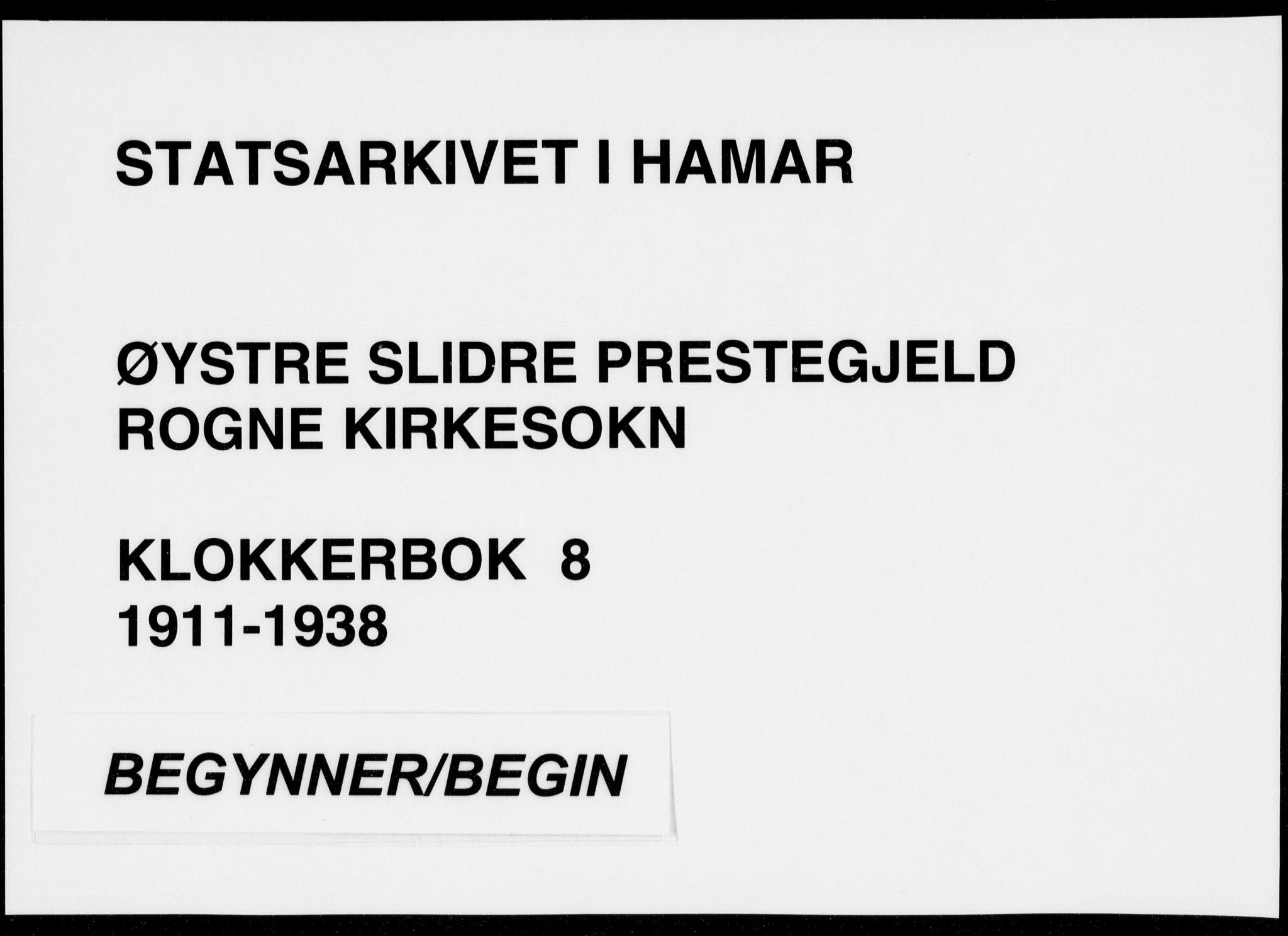 SAH, Øystre Slidre prestekontor, Klokkerbok nr. 8, 1911-1938