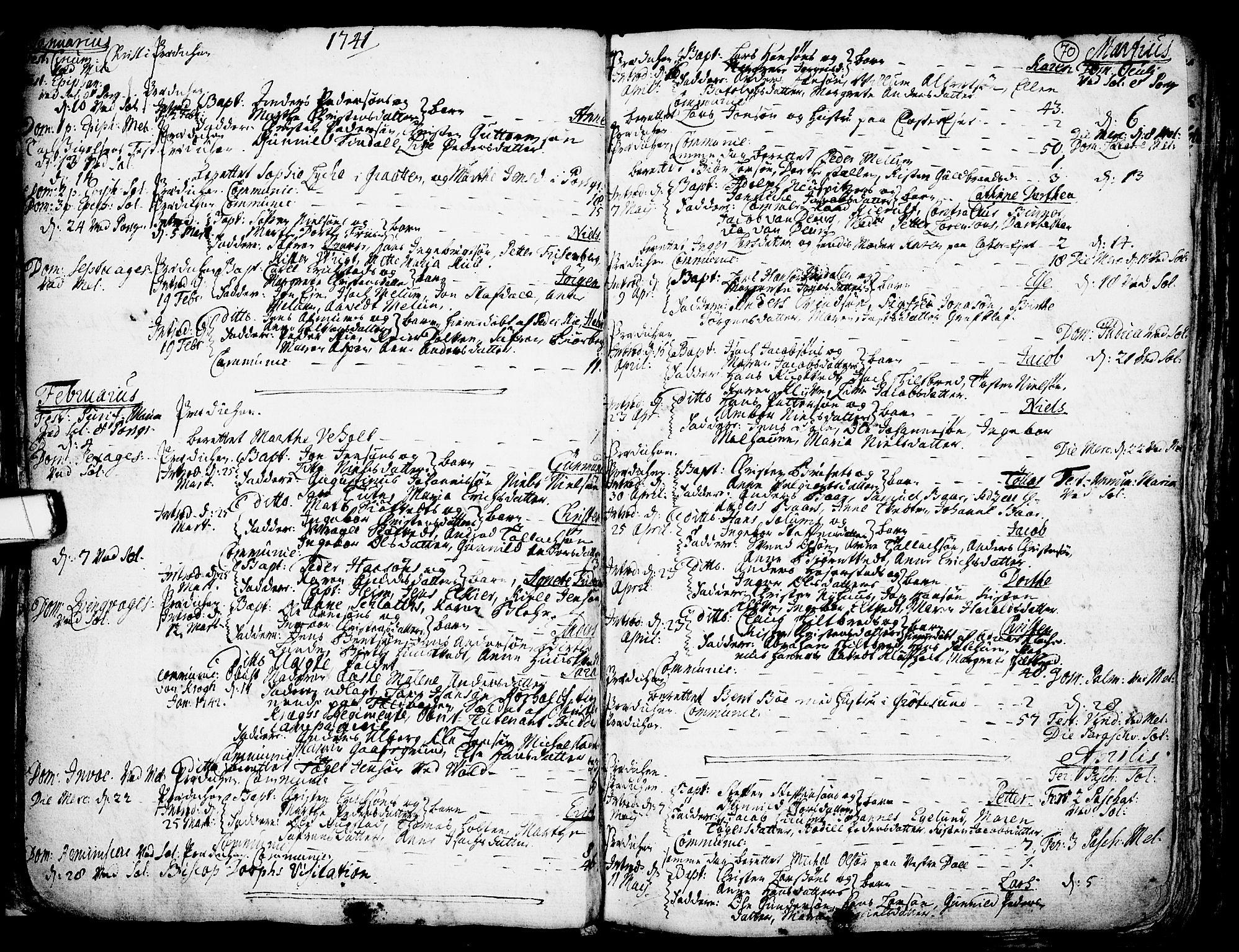 SAKO, Solum kirkebøker, F/Fa/L0002: Ministerialbok nr. I 2, 1713-1761, s. 70