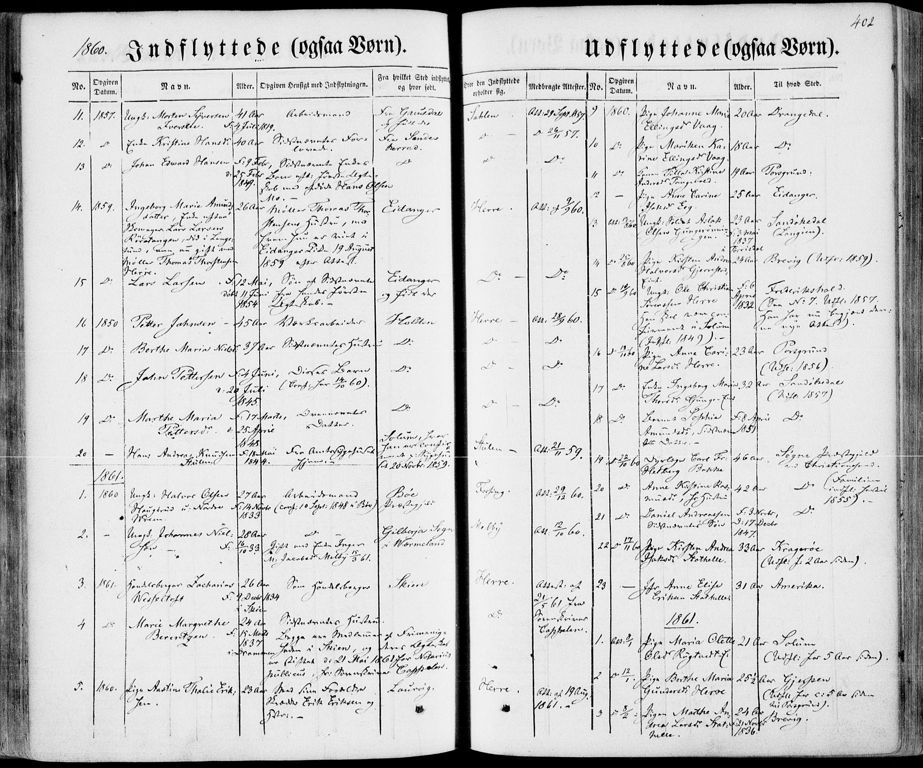 SAKO, Bamble kirkebøker, F/Fa/L0005: Ministerialbok nr. I 5, 1854-1869, s. 402