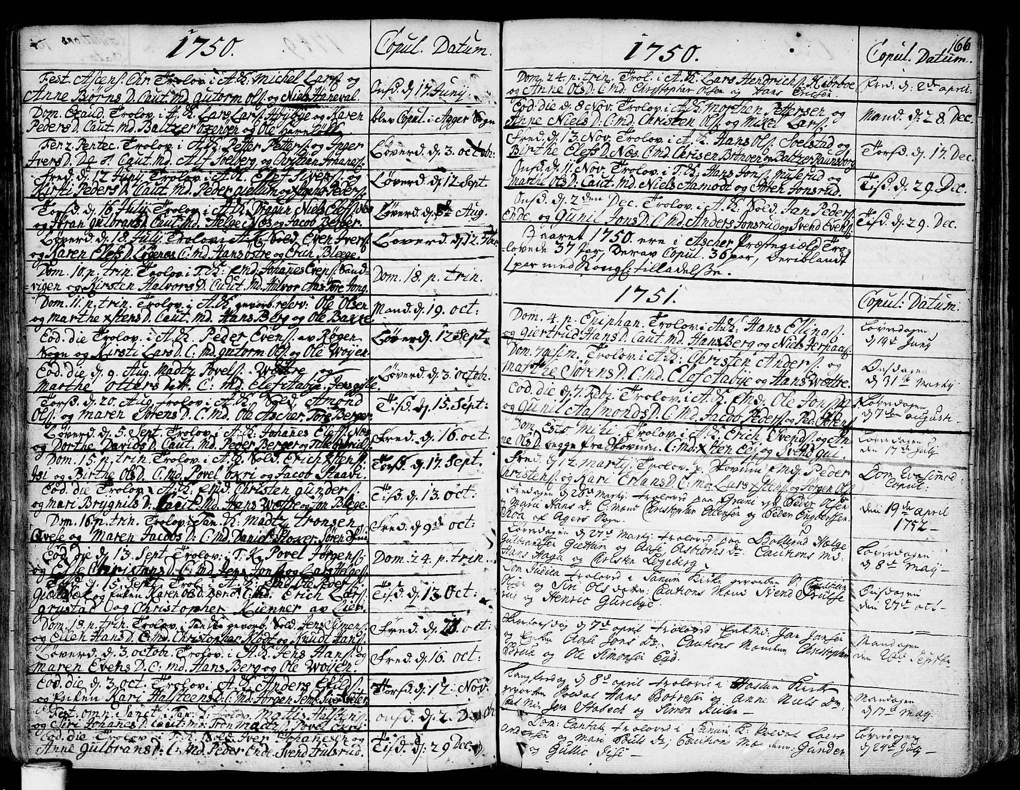 SAO, Asker prestekontor Kirkebøker, F/Fa/L0002: Ministerialbok nr. I 2, 1733-1766, s. 166