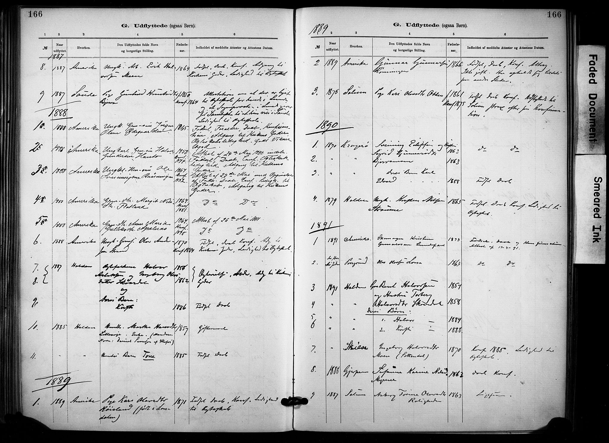 SAKO, Lunde kirkebøker, F/Fa/L0002: Ministerialbok nr. I 2, 1884-1892, s. 166