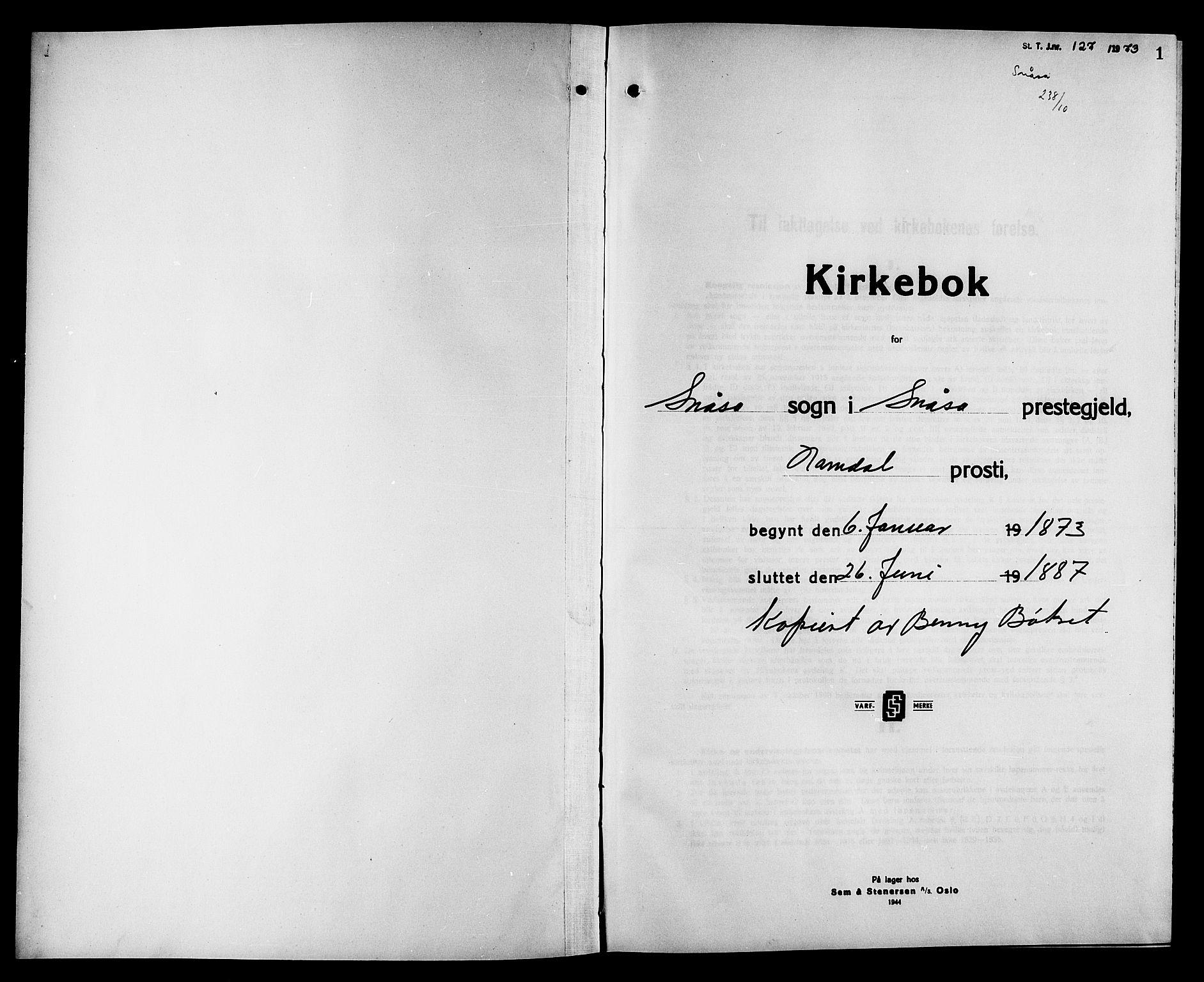 SAT, Ministerialprotokoller, klokkerbøker og fødselsregistre - Nord-Trøndelag, 749/L0486: Ministerialbok nr. 749D02, 1873-1887, s. 1