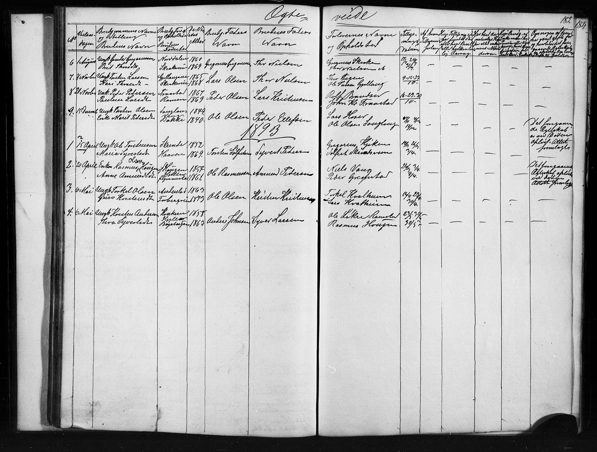 SAH, Skjåk prestekontor, Klokkerbok nr. 1, 1865-1893, s. 182