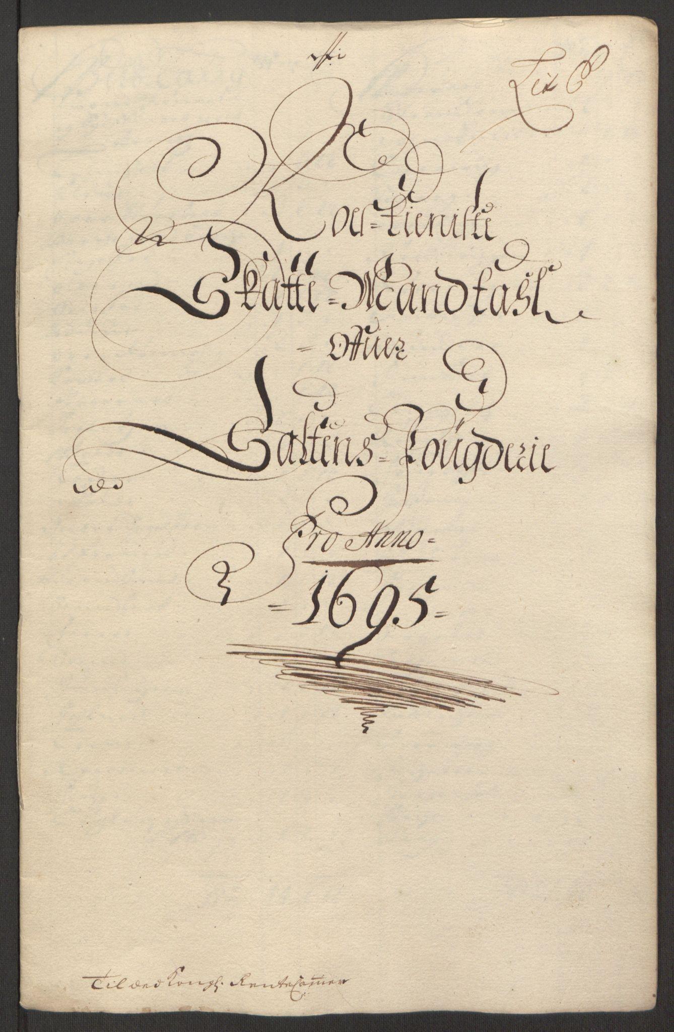RA, Rentekammeret inntil 1814, Reviderte regnskaper, Fogderegnskap, R66/L4578: Fogderegnskap Salten, 1694-1696, s. 174