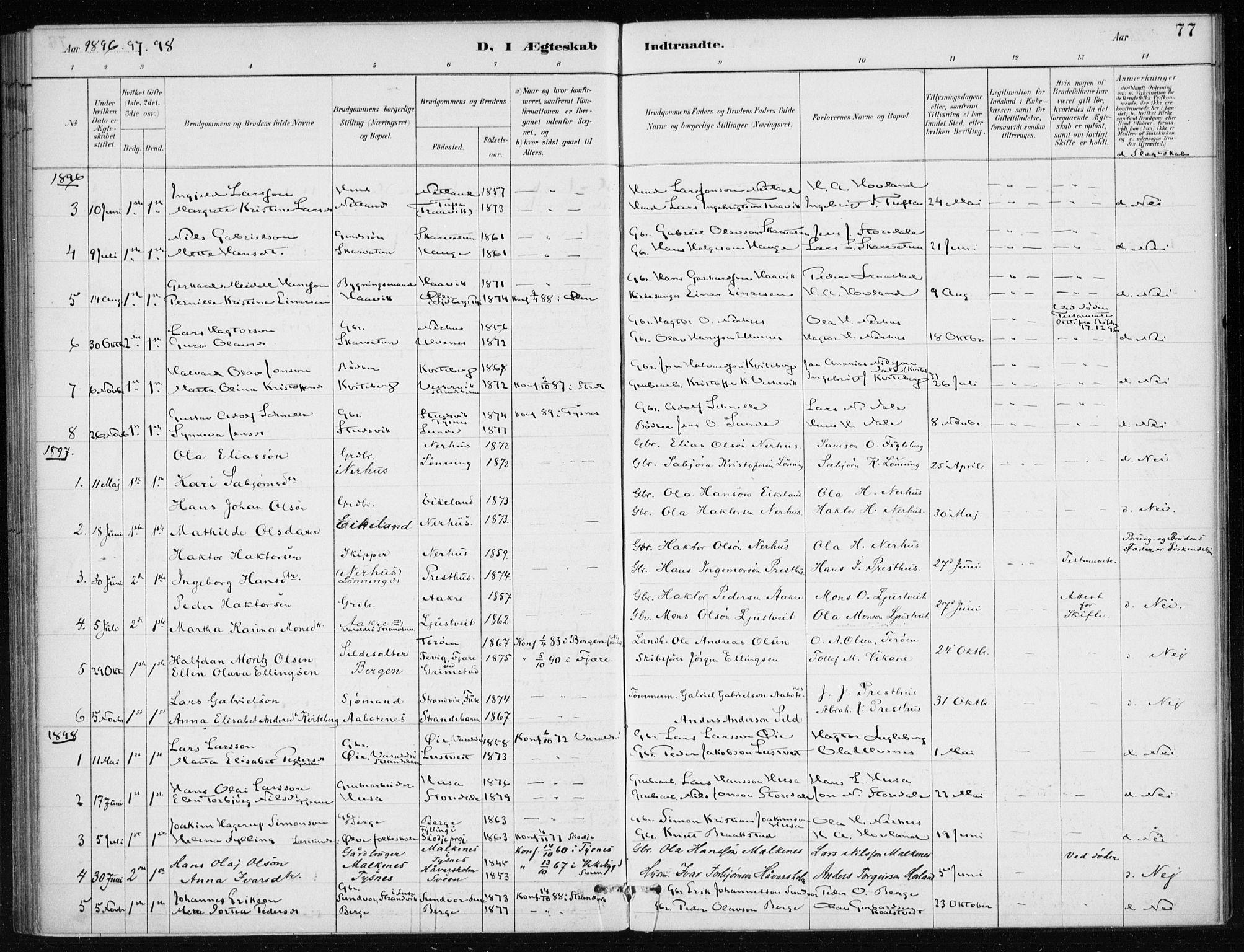 SAB, Kvinnherad Sokneprestembete, H/Haa: Ministerialbok nr. E 1, 1887-1912, s. 77
