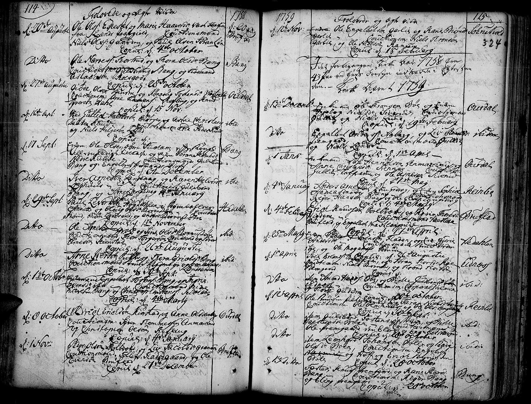 SAH, Aurdal prestekontor, Ministerialbok nr. 4, 1730-1762, s. 114-115
