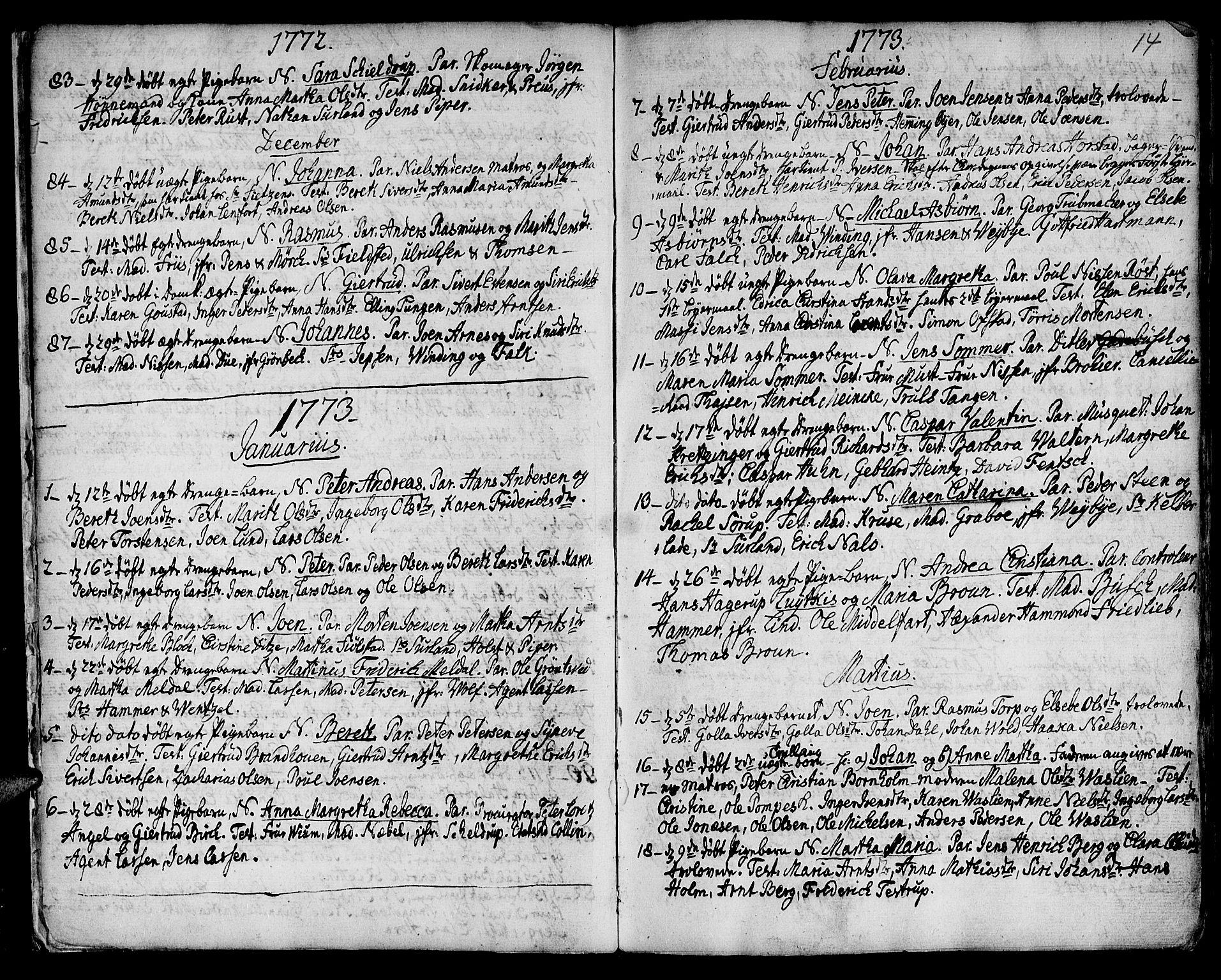SAT, Ministerialprotokoller, klokkerbøker og fødselsregistre - Sør-Trøndelag, 601/L0039: Ministerialbok nr. 601A07, 1770-1819, s. 14