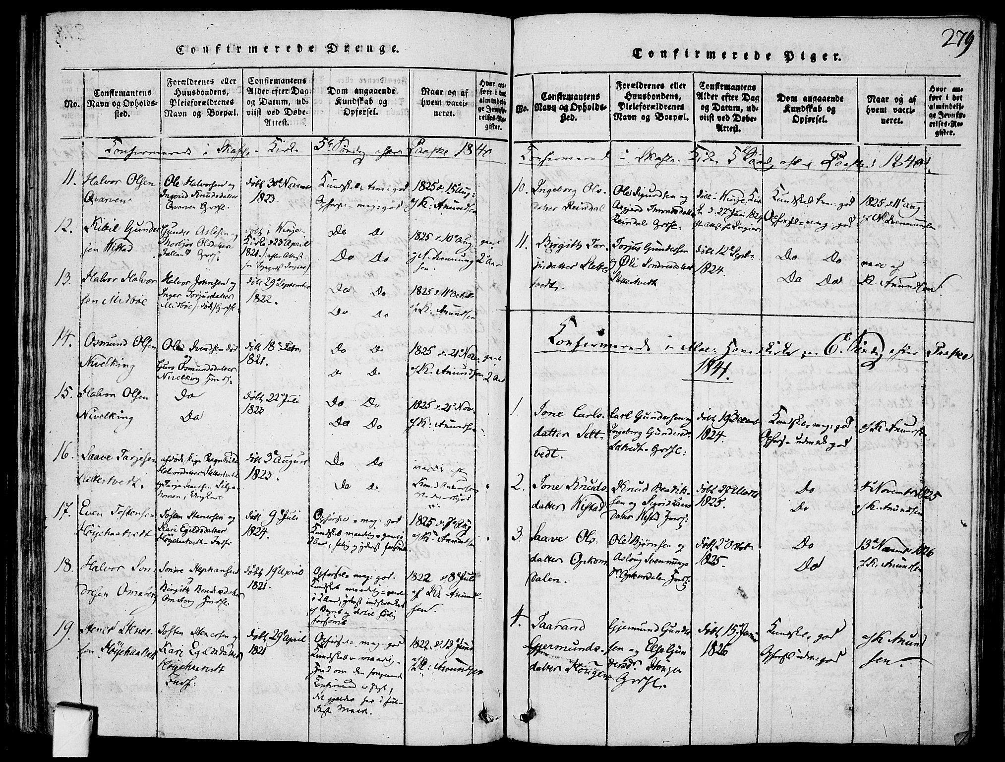 SAKO, Mo kirkebøker, F/Fa/L0004: Ministerialbok nr. I 4, 1814-1844, s. 279