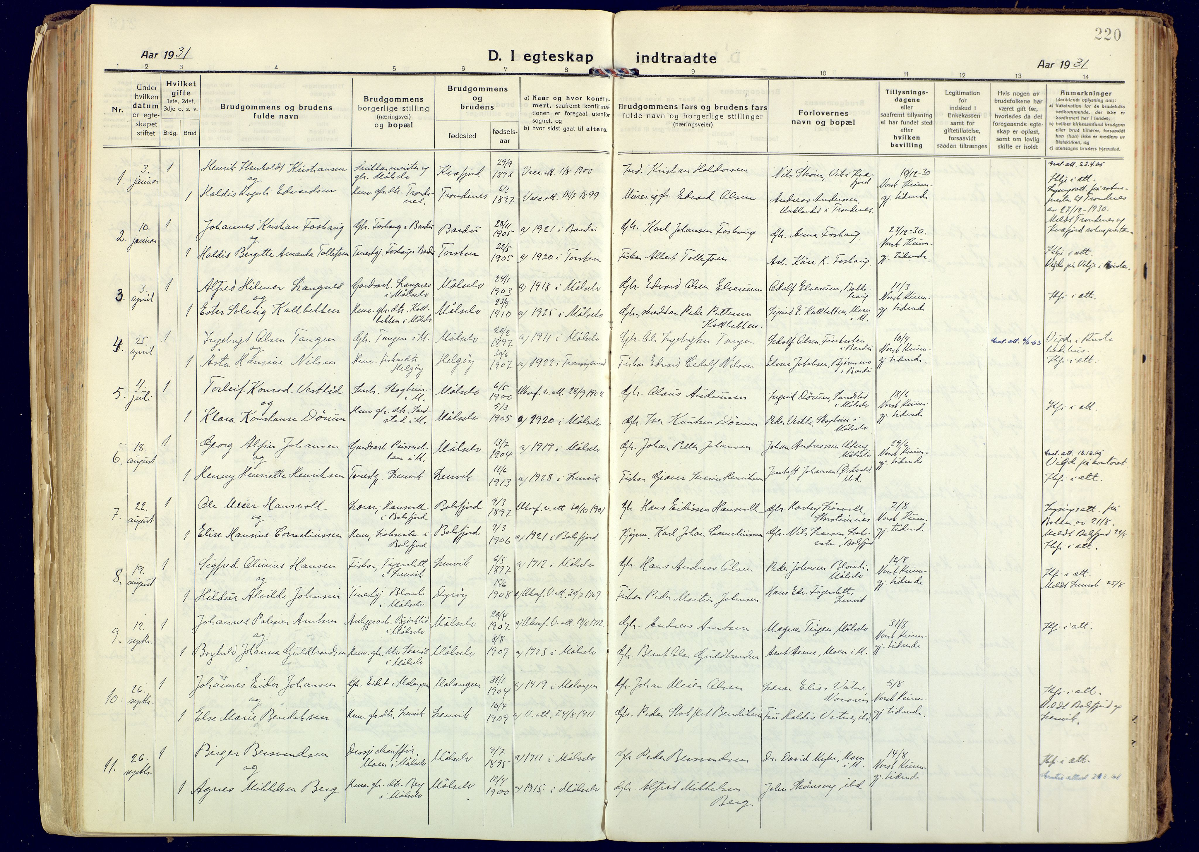 SATØ, Målselv sokneprestembete, Ministerialbok nr. 14, 1919-1932, s. 220