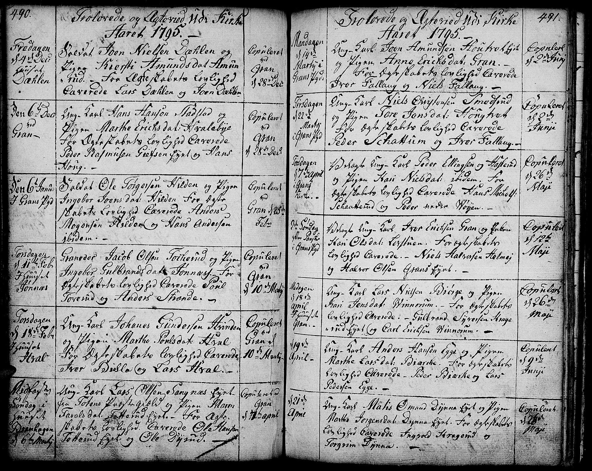 SAH, Gran prestekontor, Ministerialbok nr. 6, 1787-1824, s. 490-491