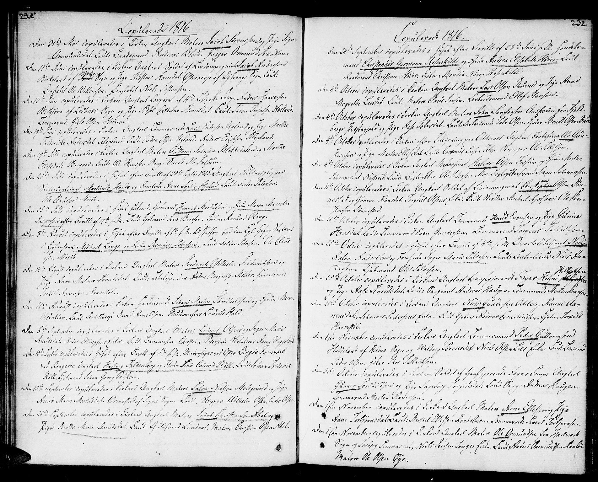 SAK, Kristiansand domprosti, F/Fa/L0005: Ministerialbok nr. A 5, 1776-1818, s. 231-232