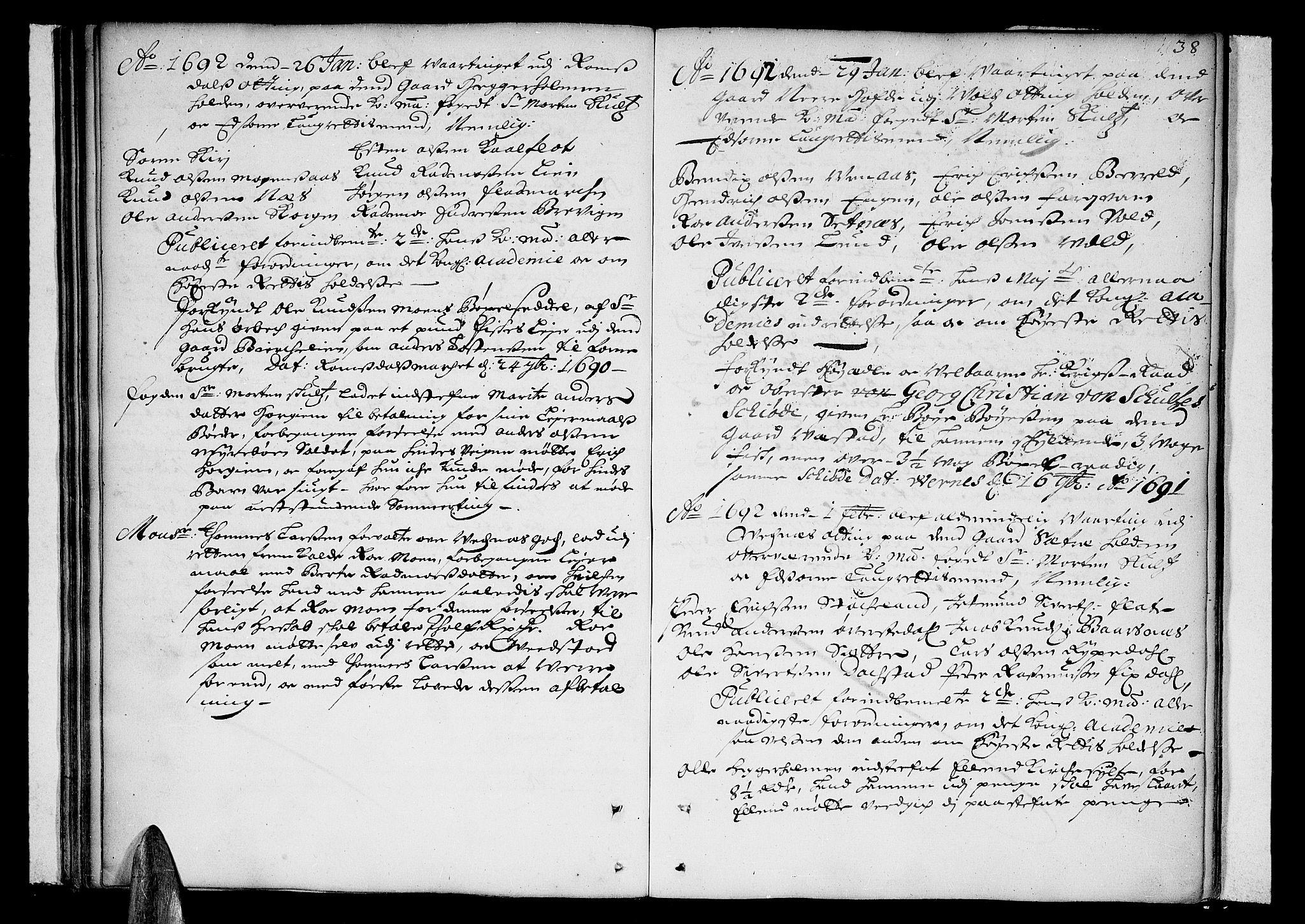 SAT, Romsdal sorenskriveri, 1/1A/L0002: Tingbok, 1690-1693, s. 37b-38a