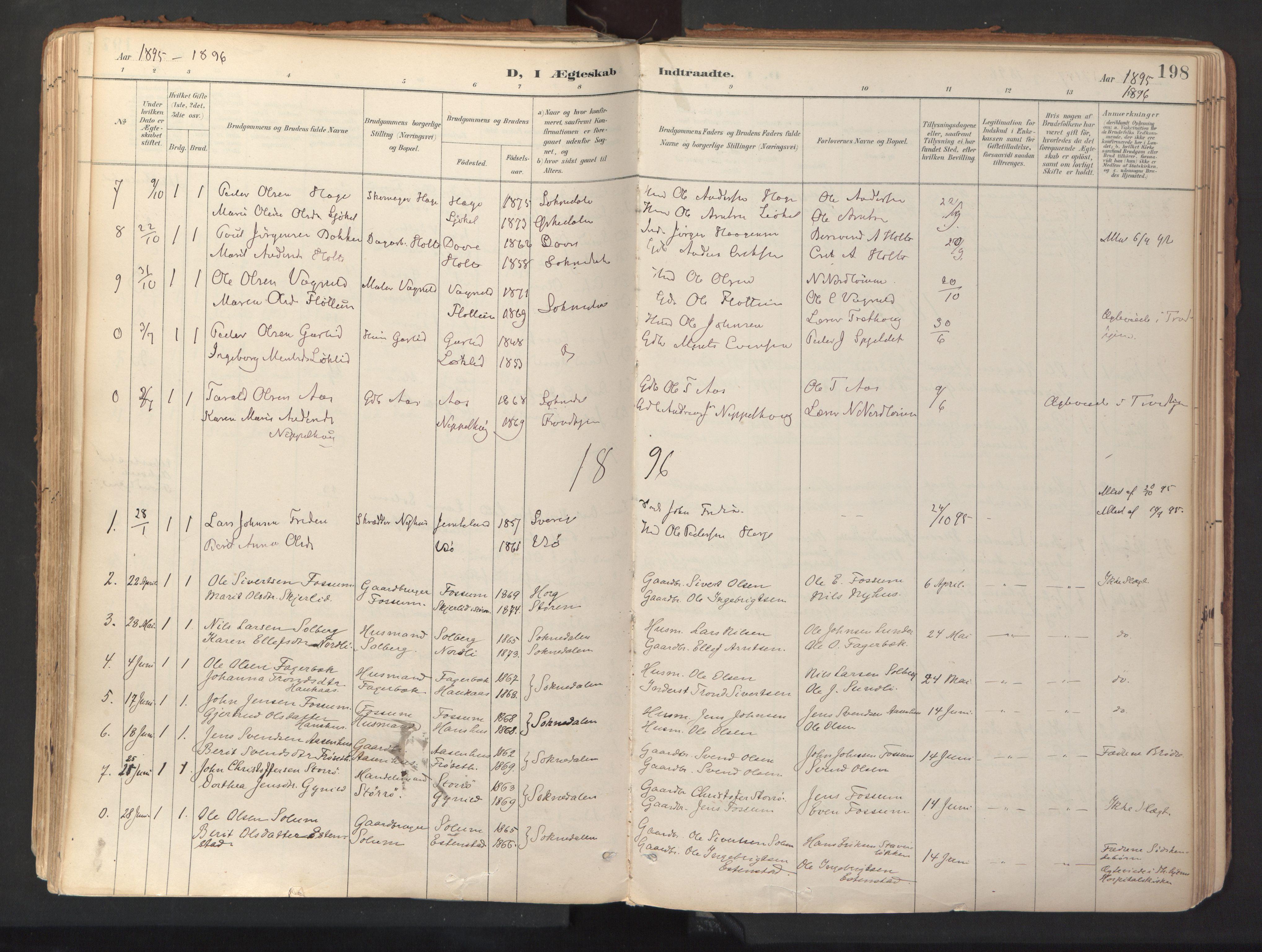 SAT, Ministerialprotokoller, klokkerbøker og fødselsregistre - Sør-Trøndelag, 689/L1041: Ministerialbok nr. 689A06, 1891-1923, s. 198
