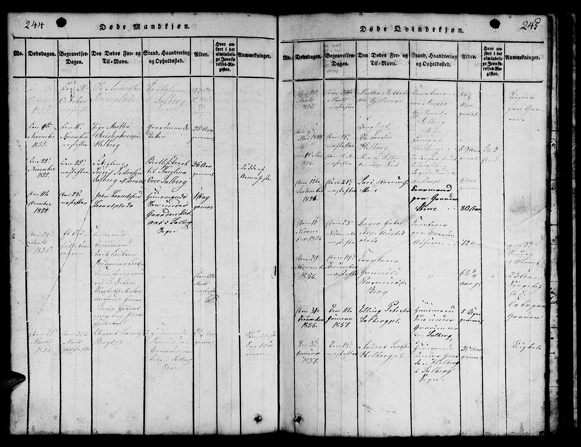 SAT, Ministerialprotokoller, klokkerbøker og fødselsregistre - Nord-Trøndelag, 731/L0310: Klokkerbok nr. 731C01, 1816-1874, s. 244-245