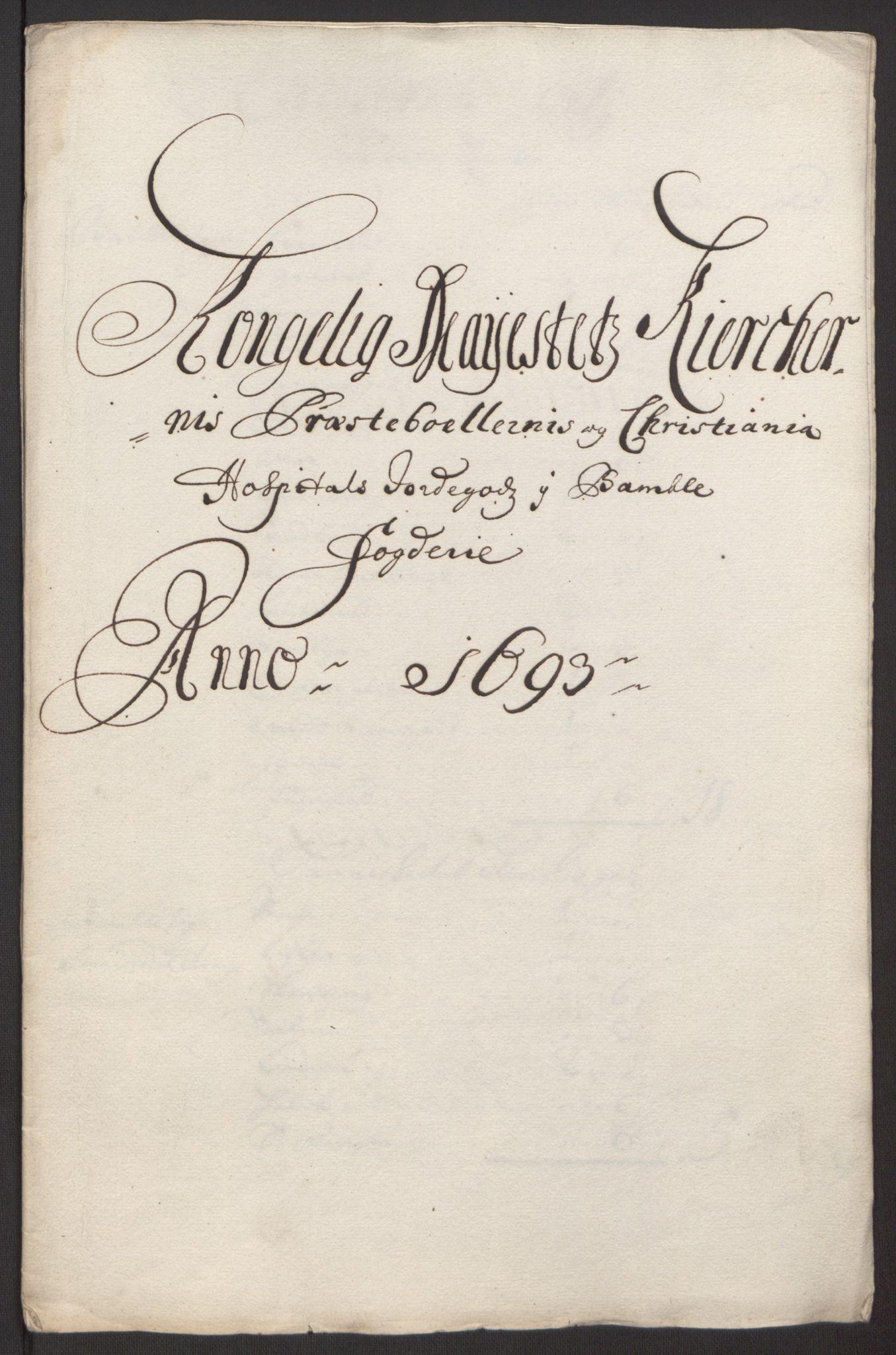 RA, Rentekammeret inntil 1814, Reviderte regnskaper, Fogderegnskap, R34/L2052: Fogderegnskap Bamble, 1692-1693, s. 360