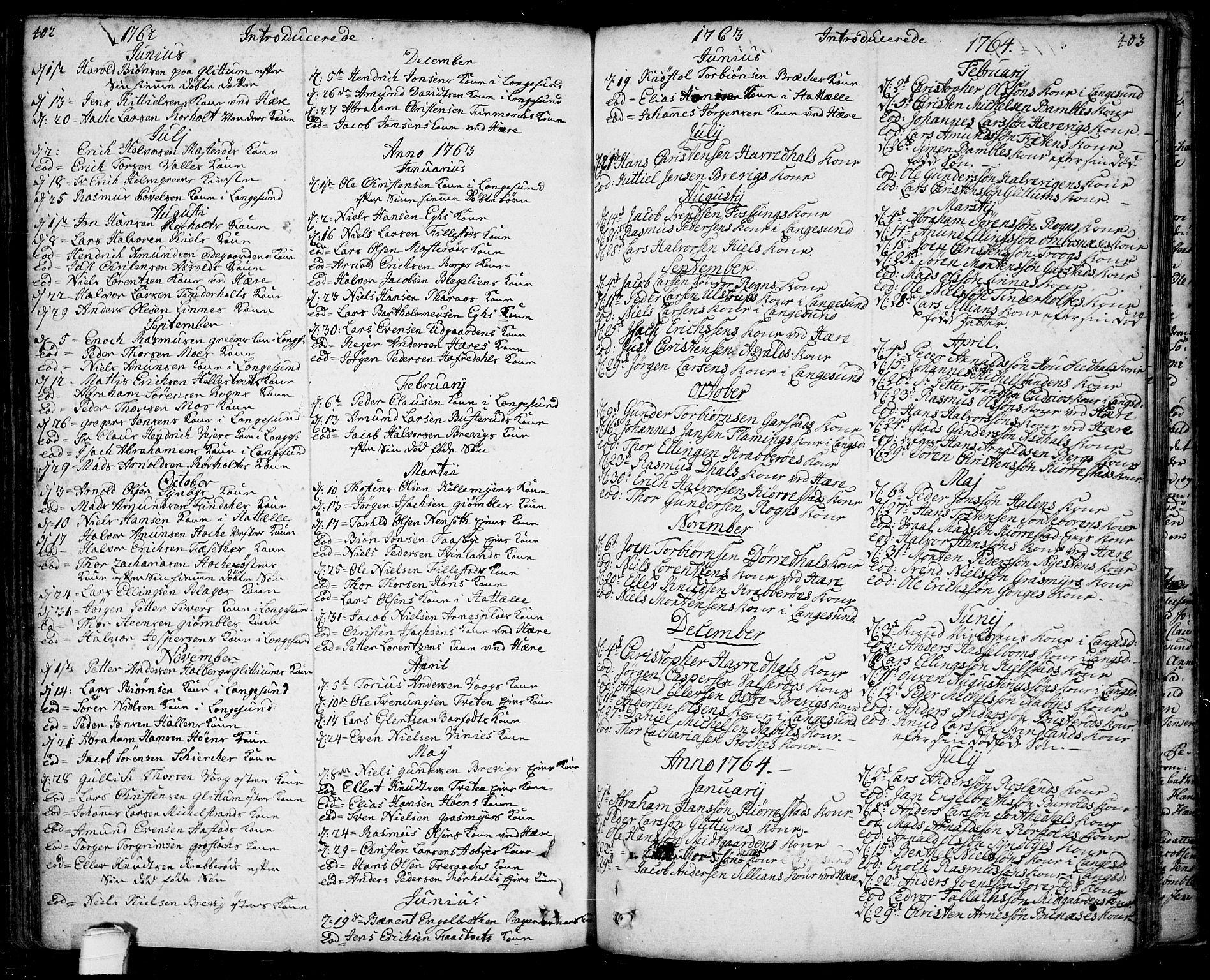 SAKO, Bamble kirkebøker, F/Fa/L0001: Ministerialbok nr. I 1, 1702-1774, s. 402-403