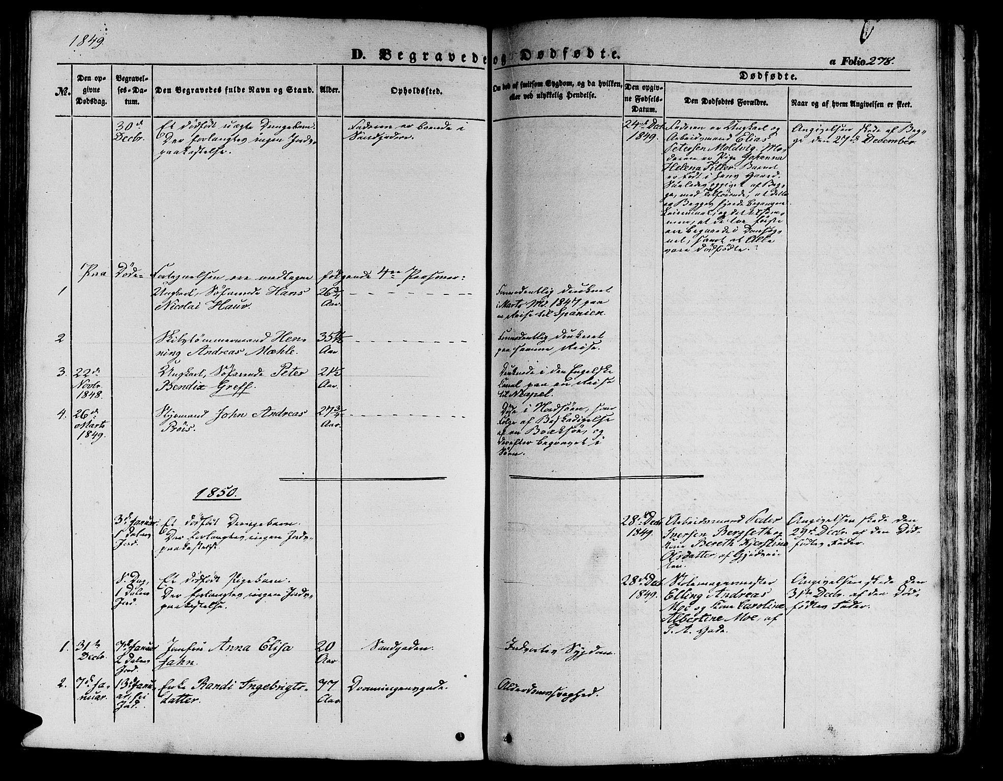 SAT, Ministerialprotokoller, klokkerbøker og fødselsregistre - Sør-Trøndelag, 602/L0137: Klokkerbok nr. 602C05, 1846-1856, s. 278